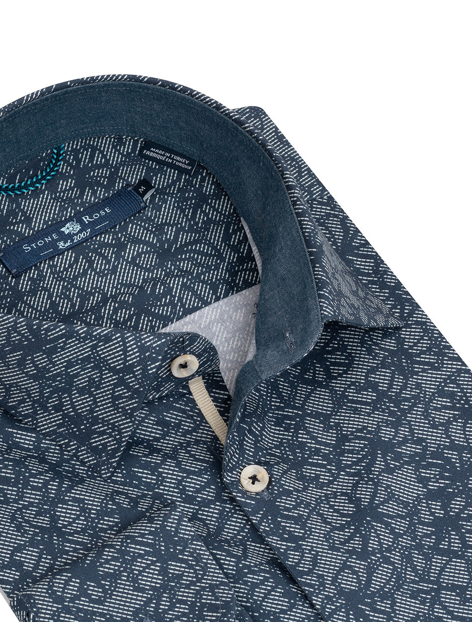Navy Floral Print Long Sleeve Shirt