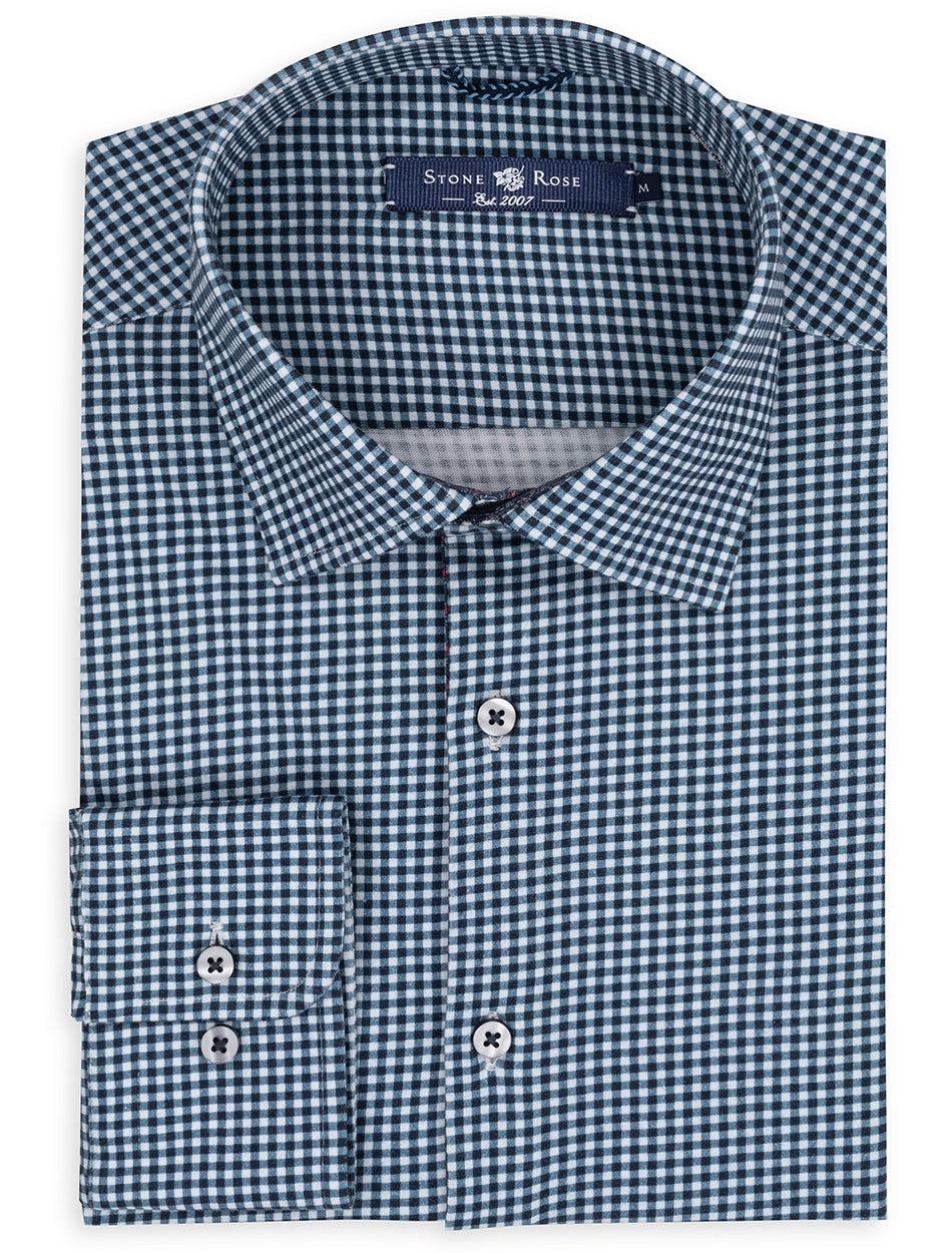Navy Check Knit Long Sleeve Shirt