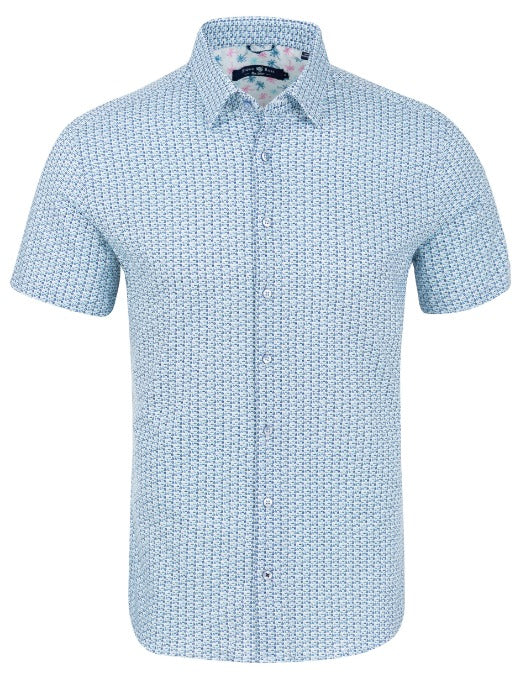 Blue Sailboat Print Knit Short Sleeve Shirt