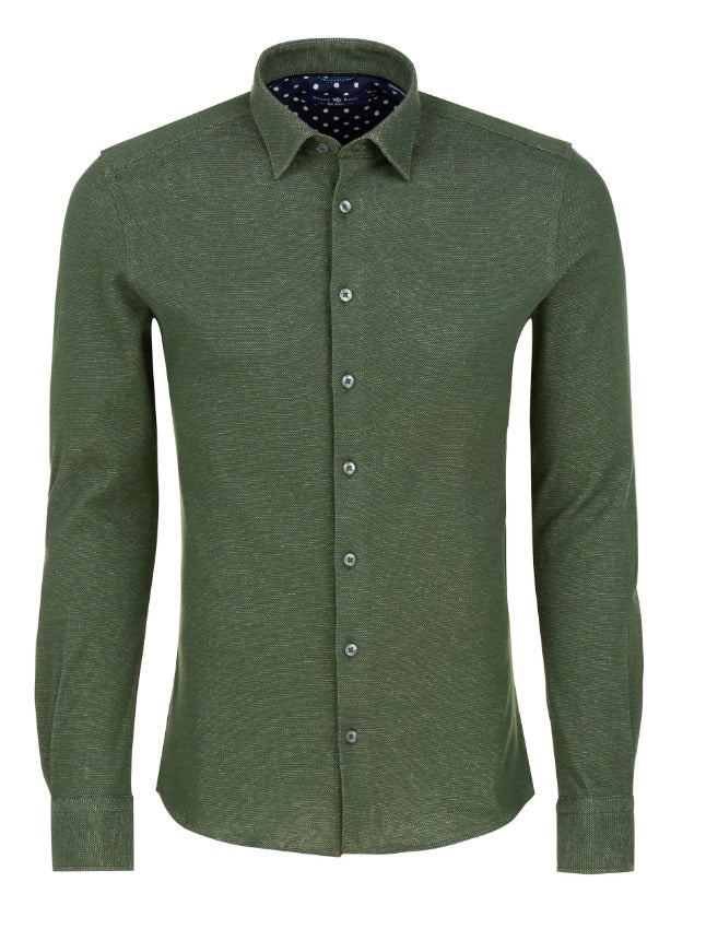 Olive Oxford Knit Long Sleeve Shirt
