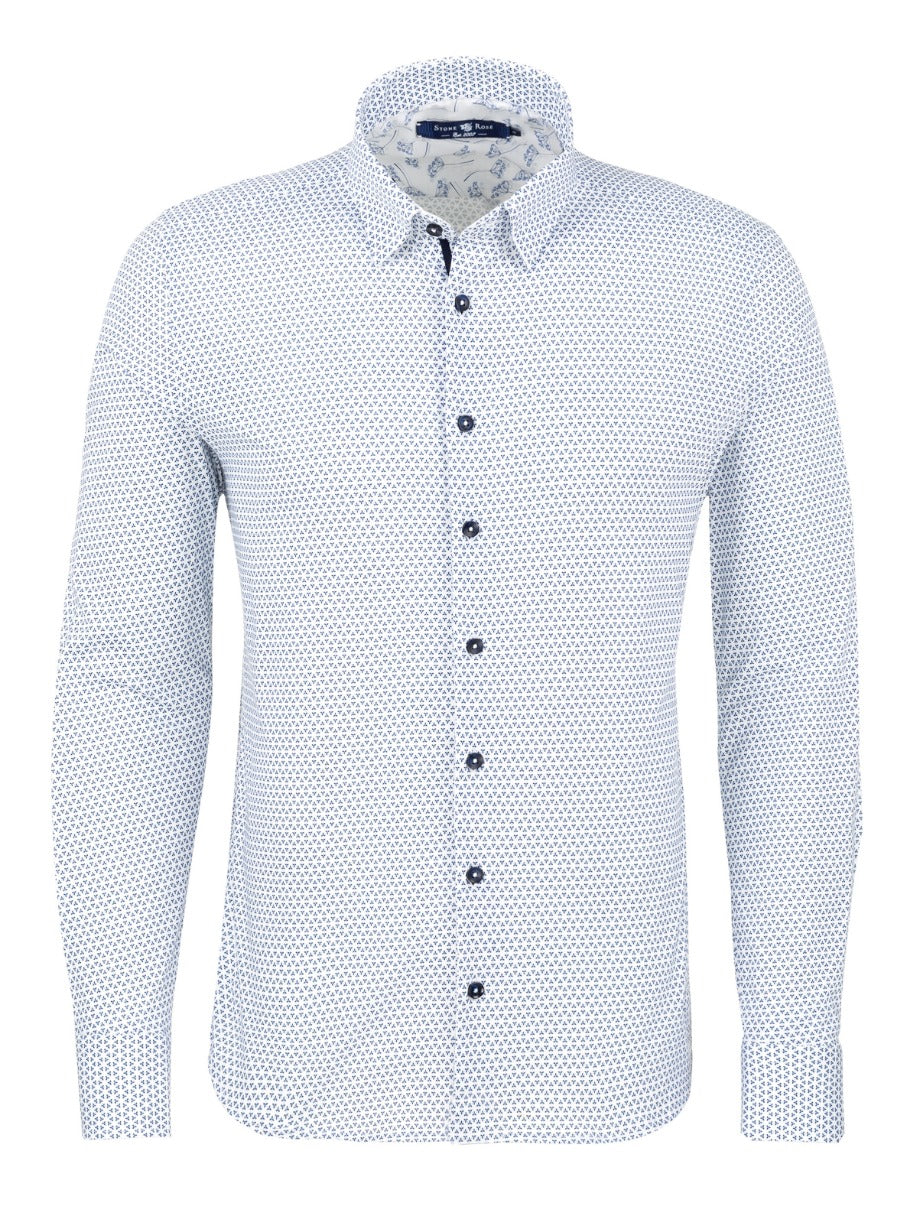 Light Blue Patterned Geometric Knit Long Sleeve Shirt
