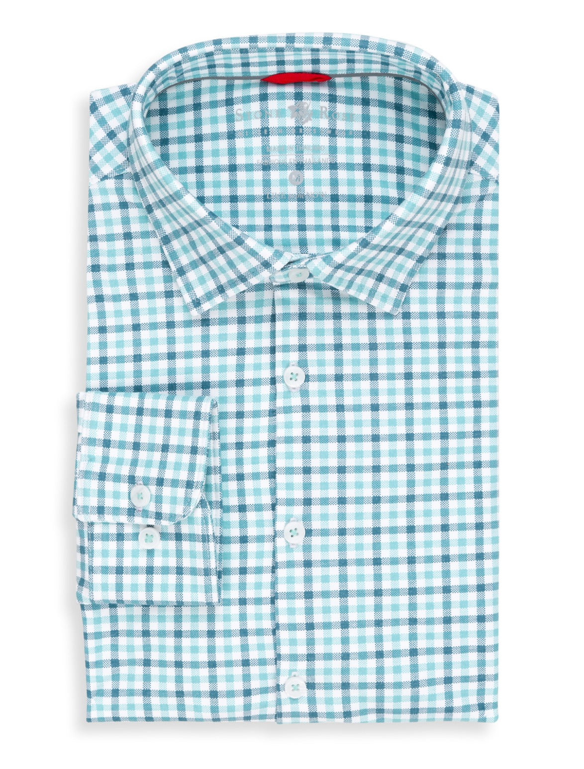 Teal Check Performance Knit Long Sleeve Shirt