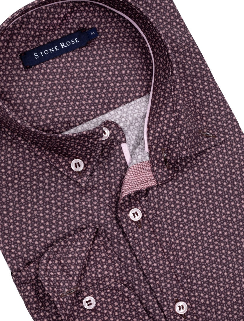 Berry Ditsy Print Long Sleeve Shirt