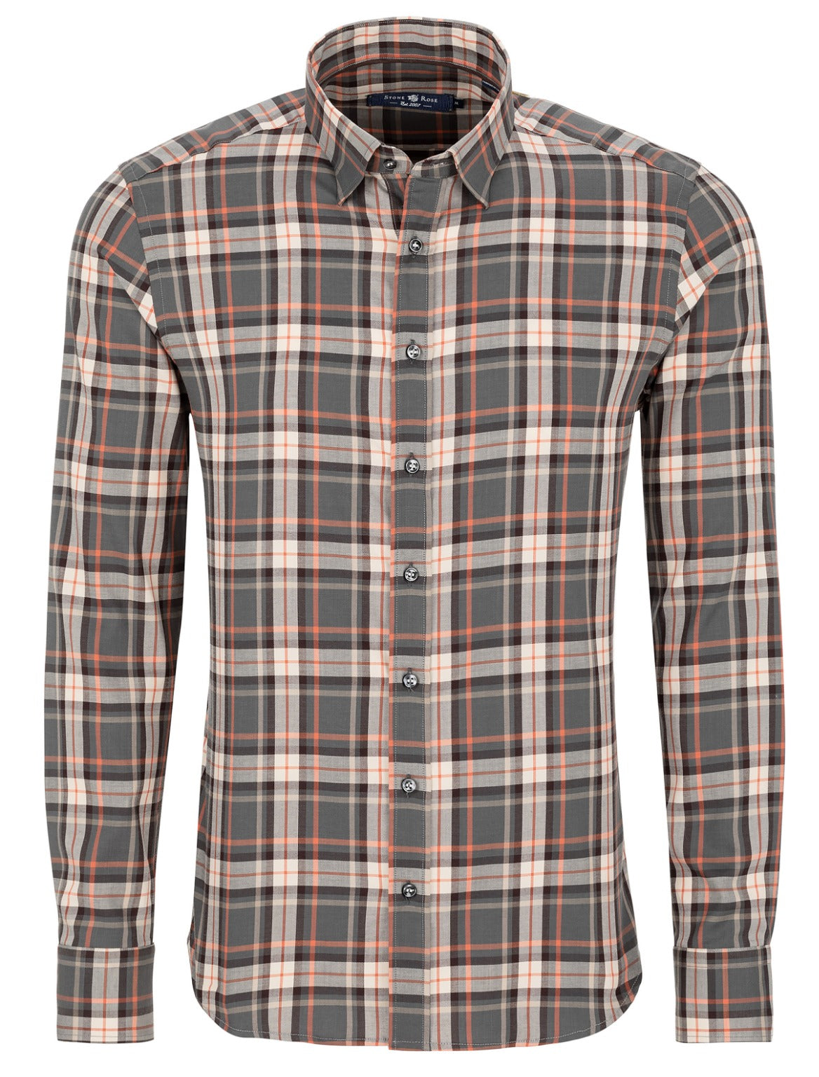 Charcoal Lyocell Plaid Long Sleeve Shirt