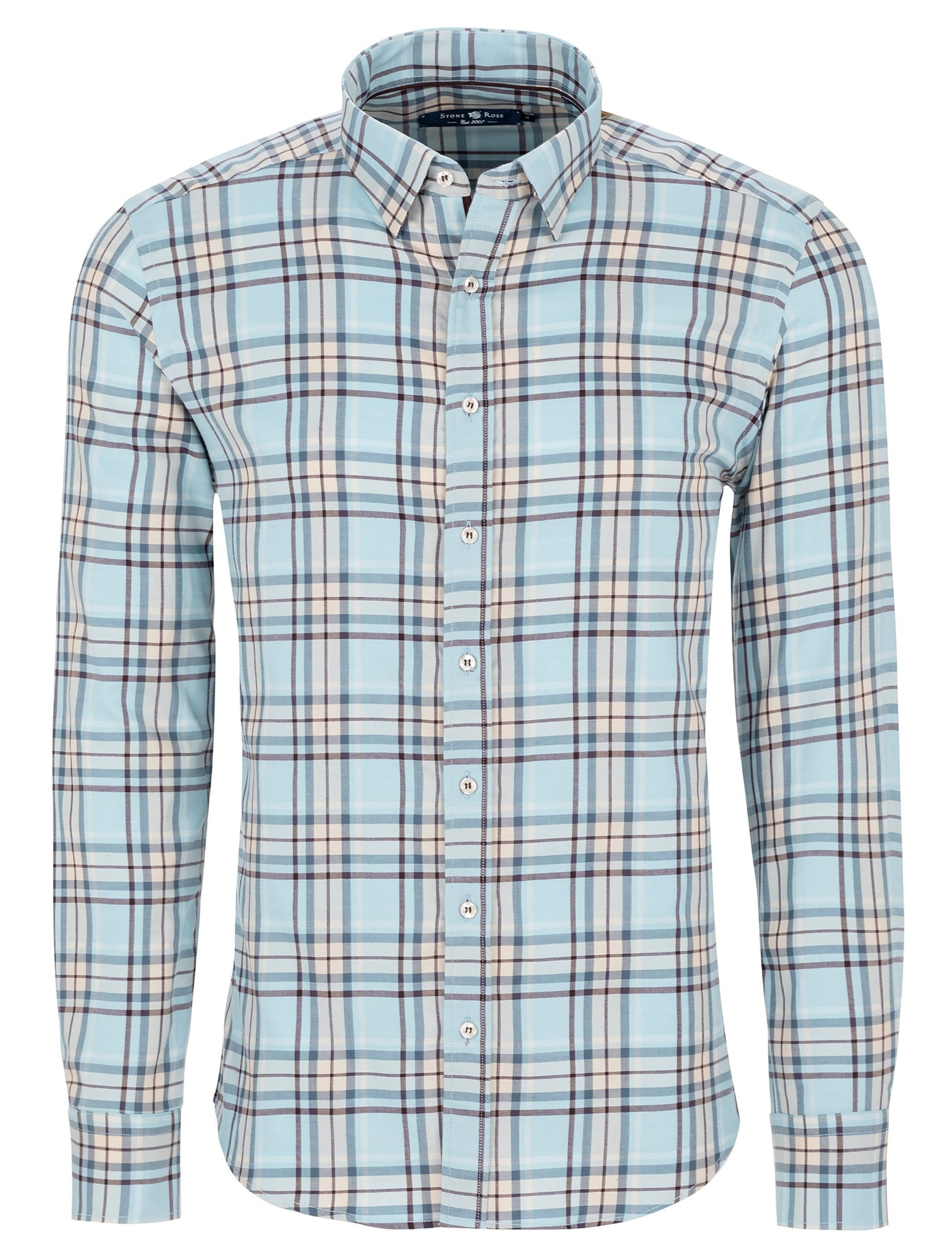 Blue Lyocell Plaid Long Sleeve Shirt