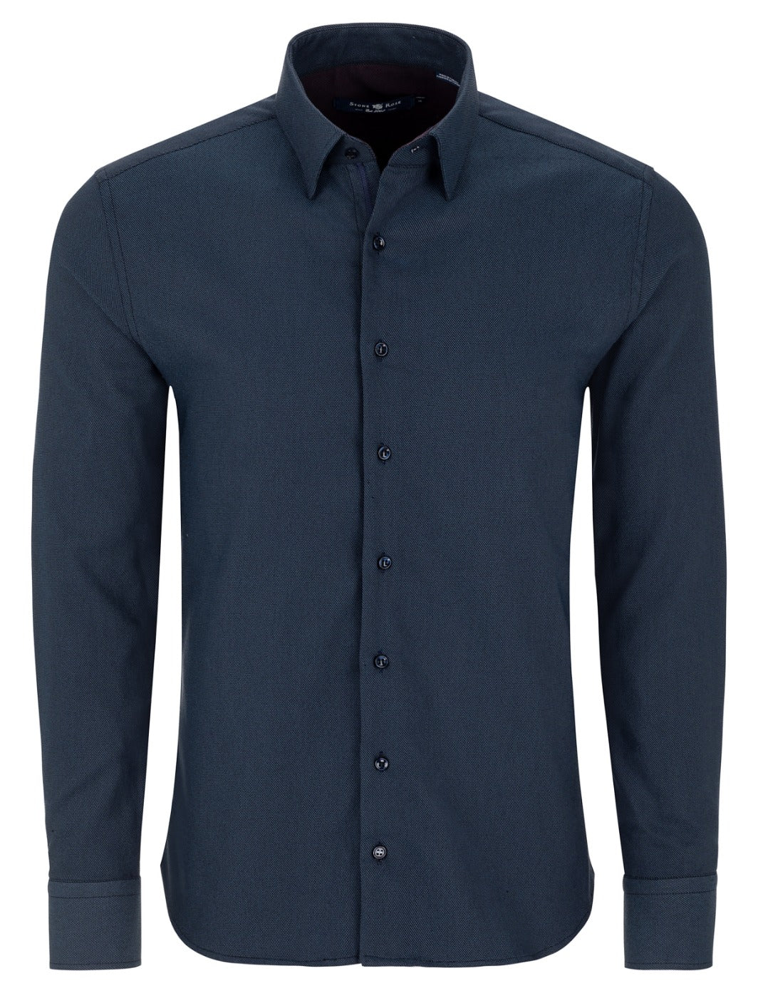 Blue Dry Touch Jacquard Long Sleeve Shirt