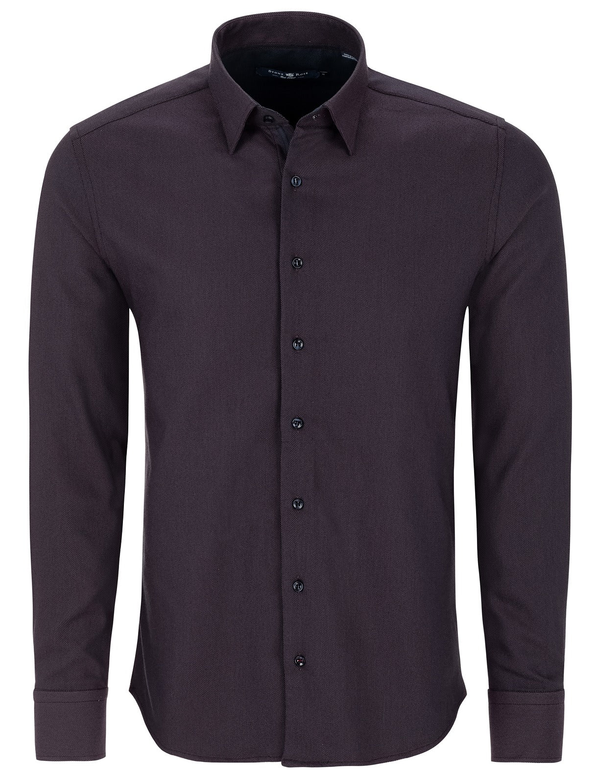 Berry Dry Touch Jacquard Long Sleeve Shirt