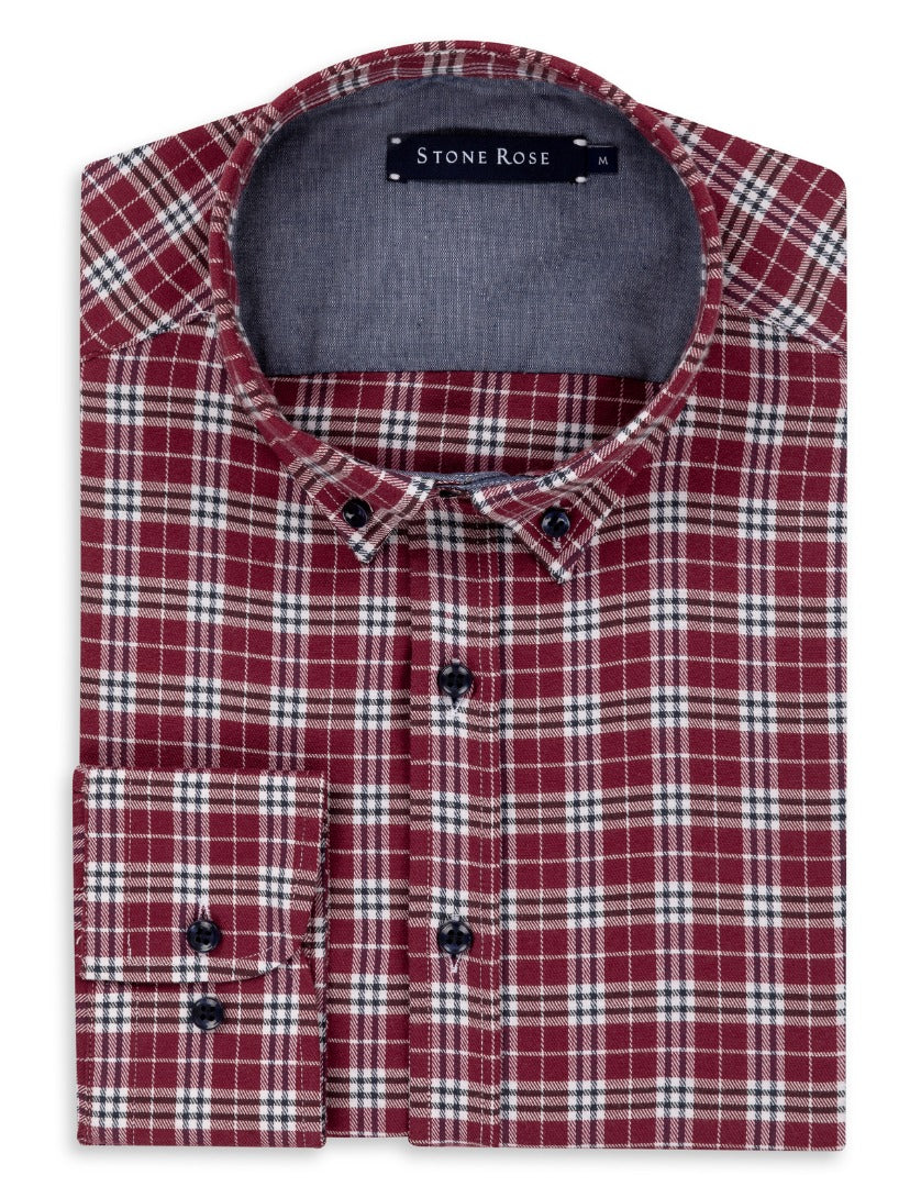 Burgundy Dry Touch Plaid Long Sleeve Shirt