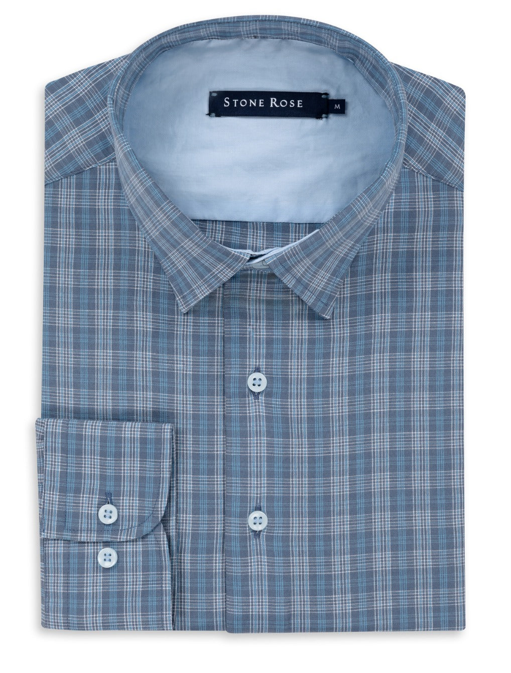 Blue Dry Touch Plaid Long Sleeve Shirt