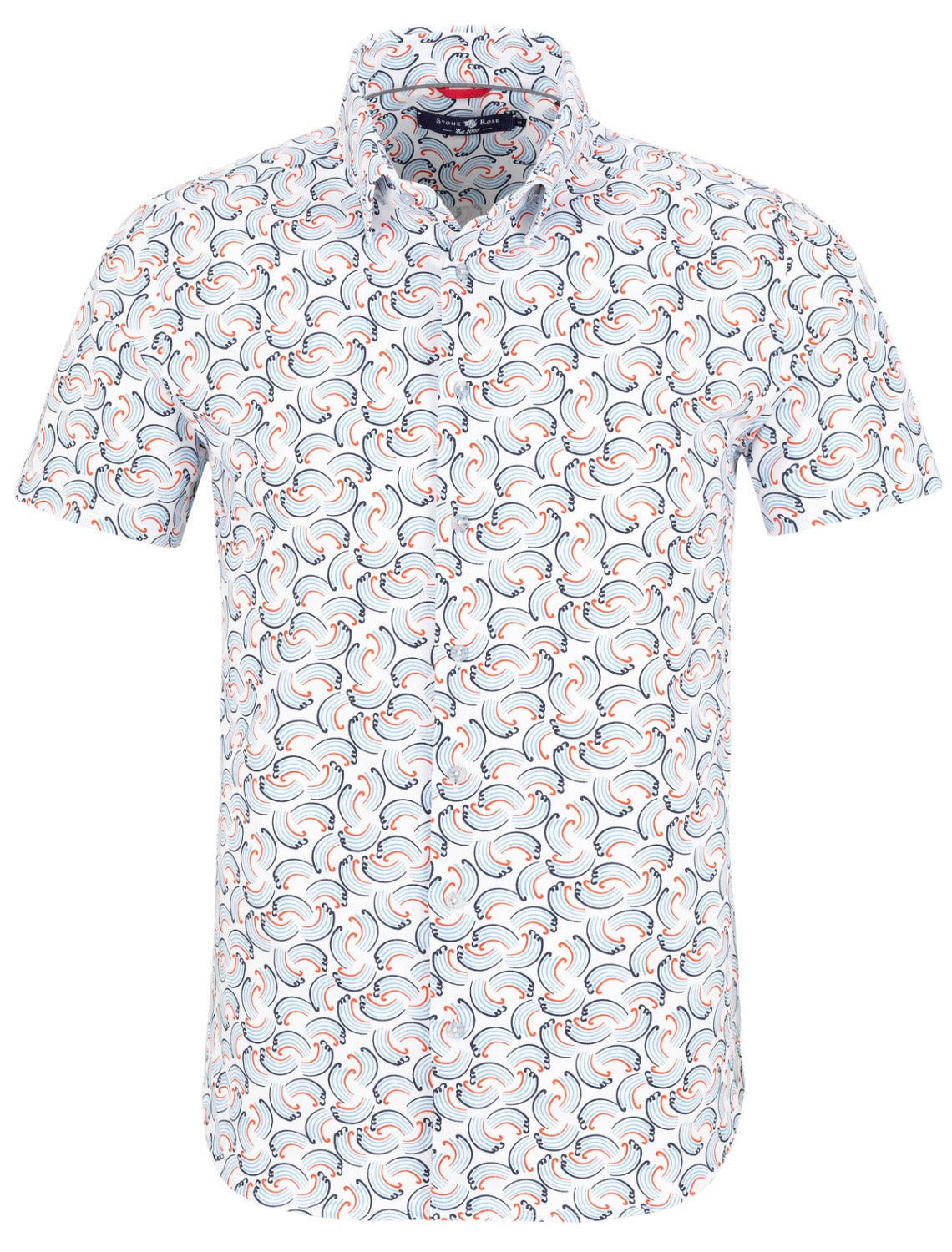 White Wave Print Short Sleeve Shirt