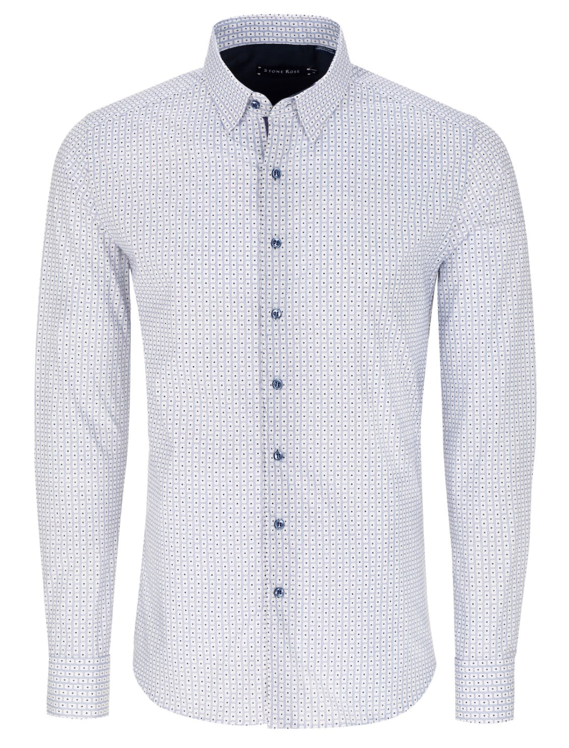 White Card Print Long Sleeve Shirt