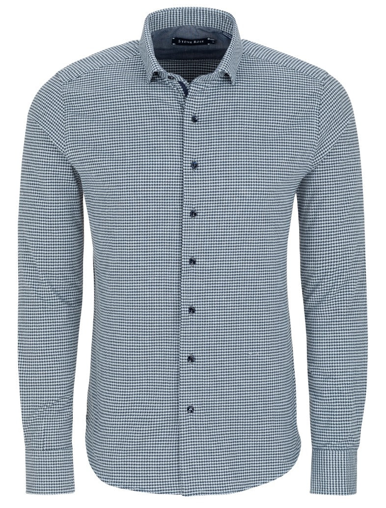 Blue Dry Touch Hounds tooth Long Sleeve Shirt
