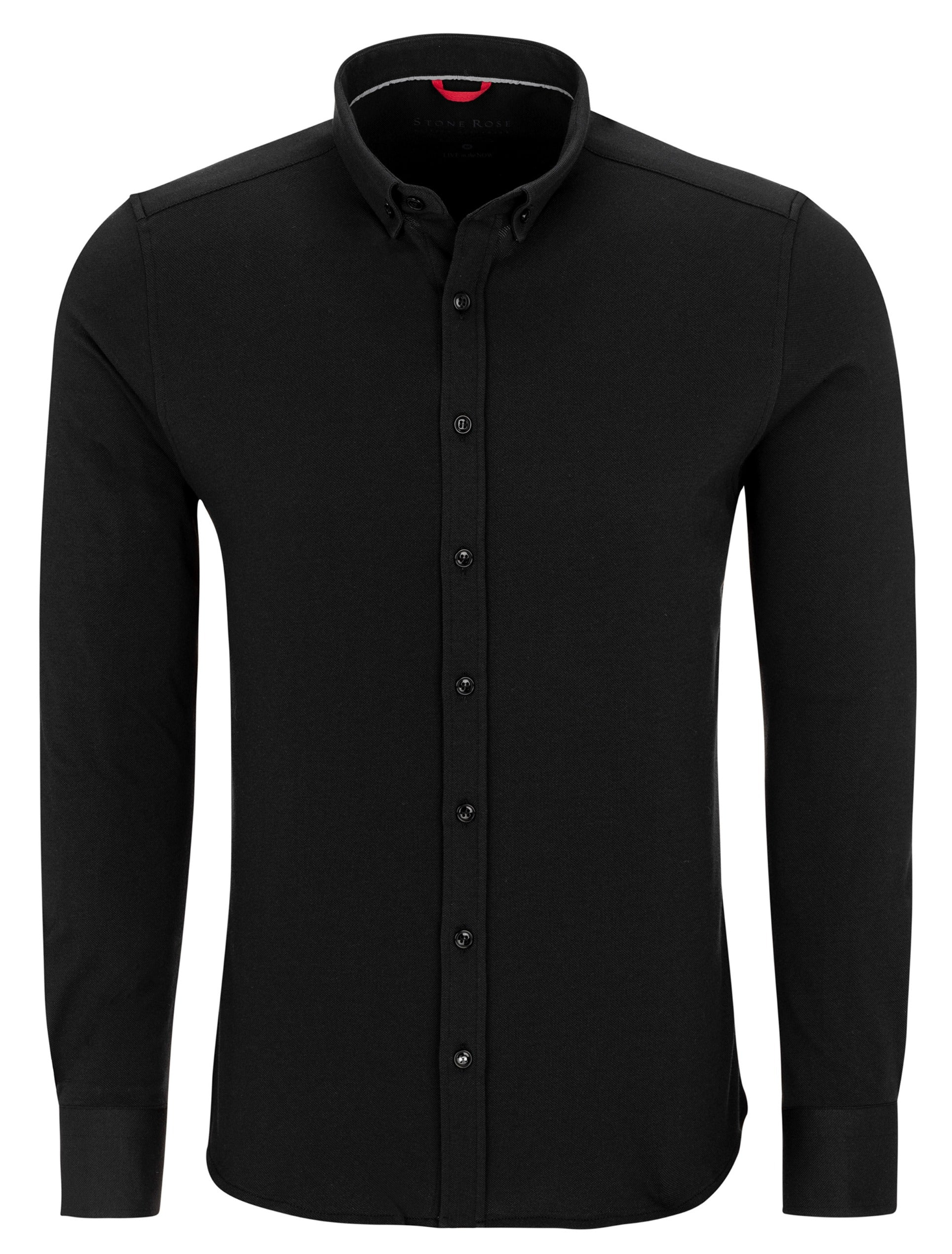 Black Performance Knit Long Sleeve Shirt