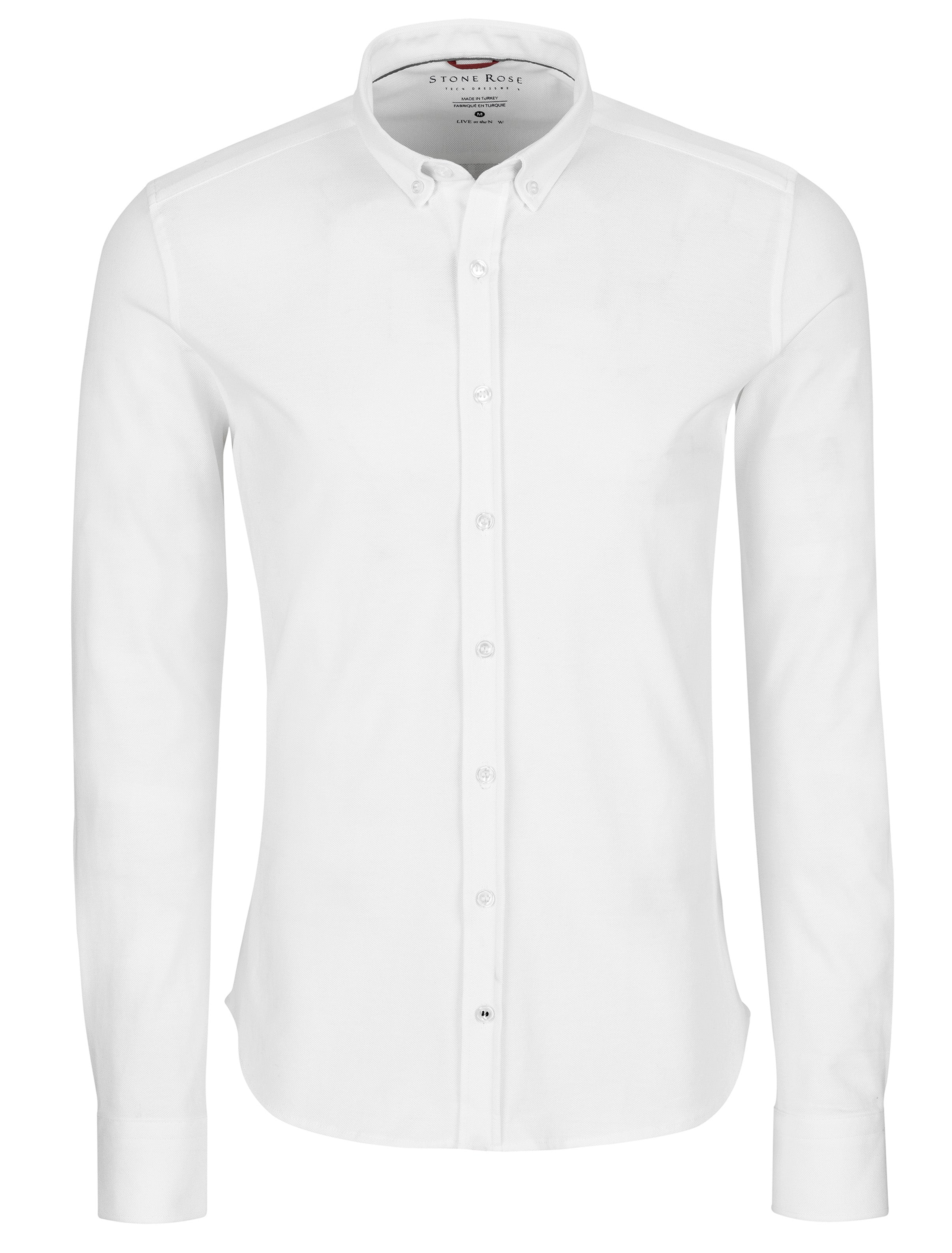 White Performance Pique Solid Knit Long Sleeve Shirt
