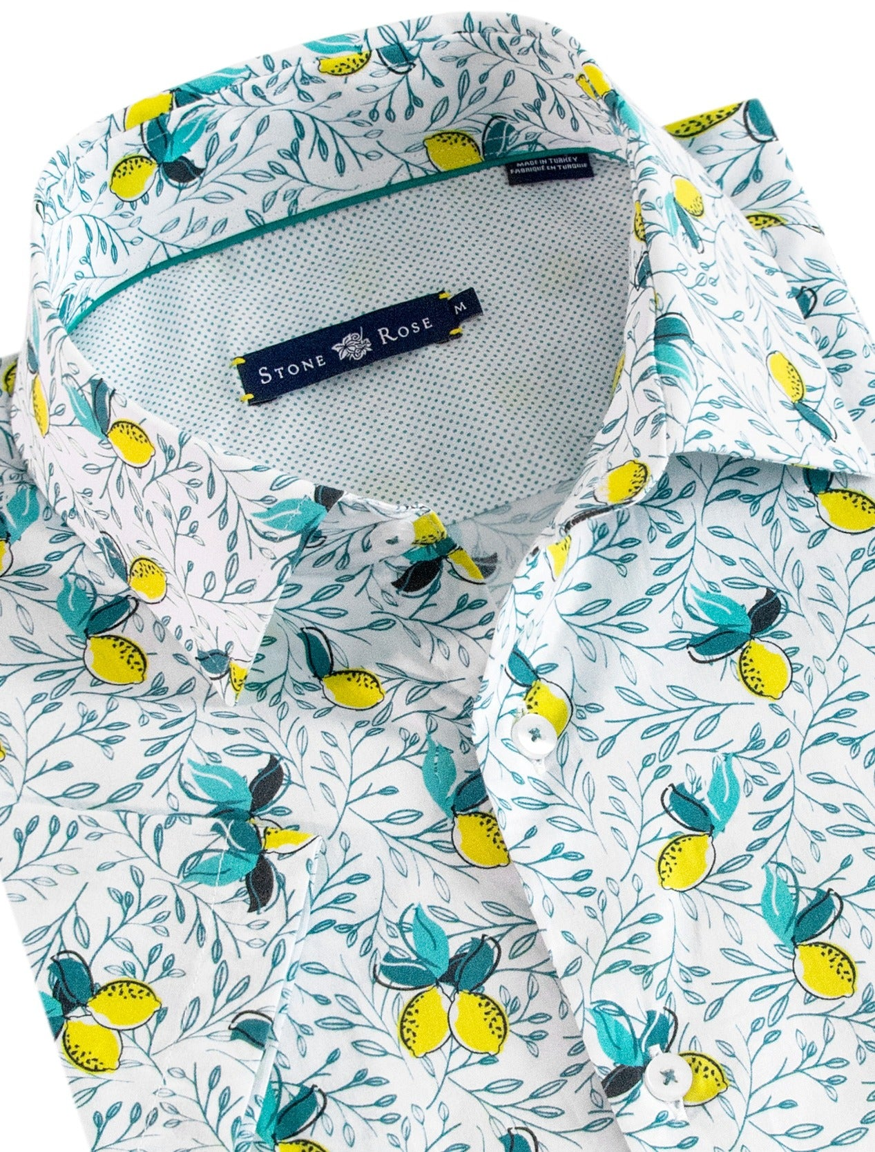 White Lemon Print Short Sleeve Shirt