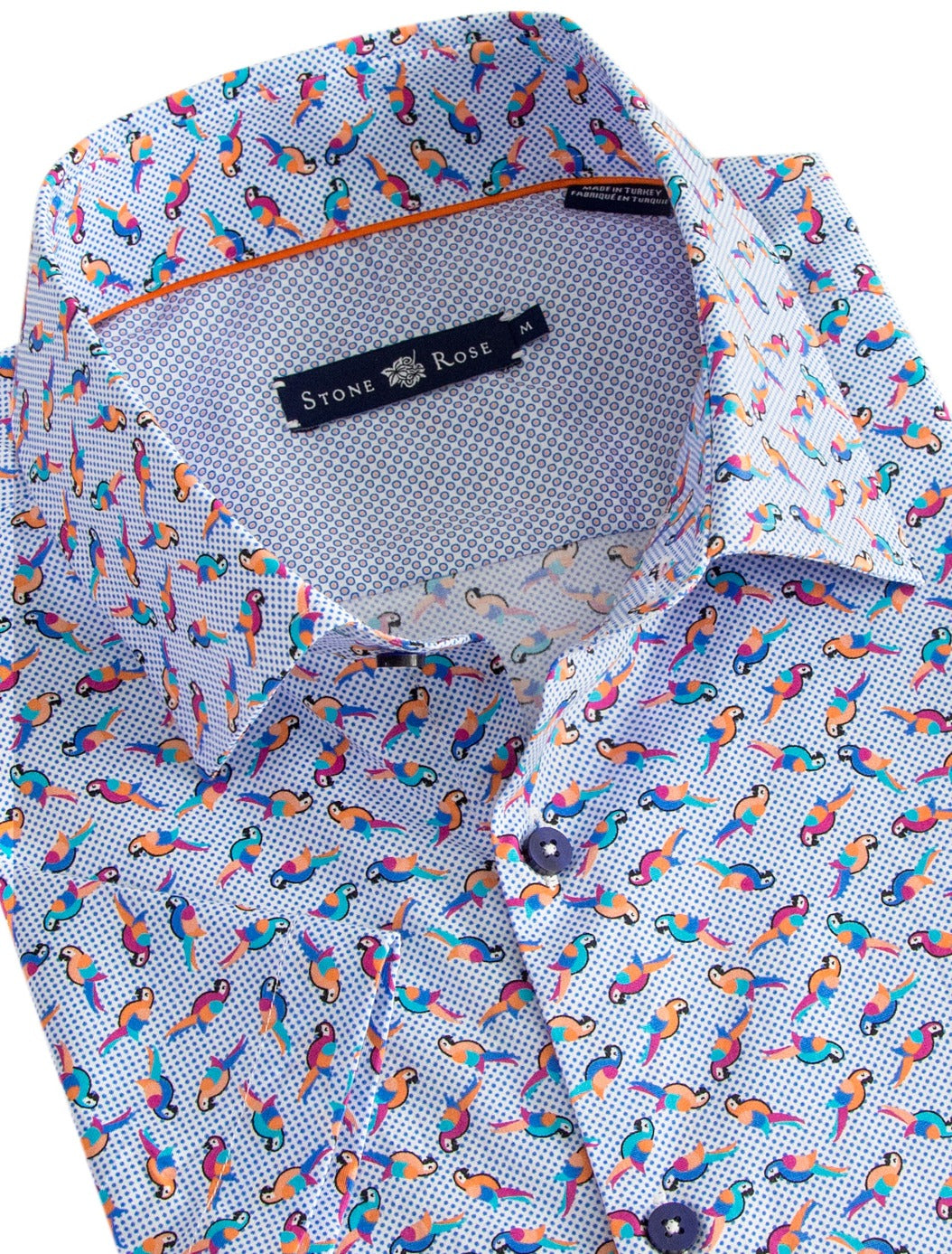 Blue Parrot Print Short Sleeve Shirt