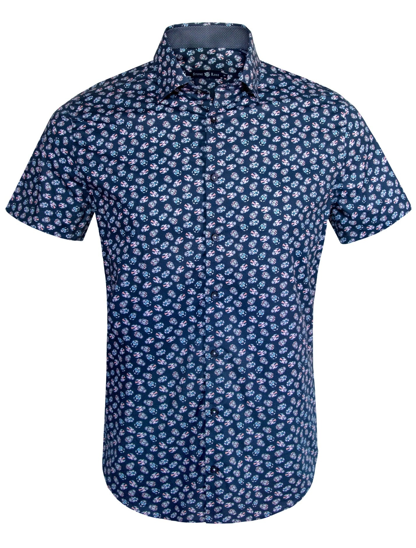 Navy Skull Print Short Sleeve Shirt