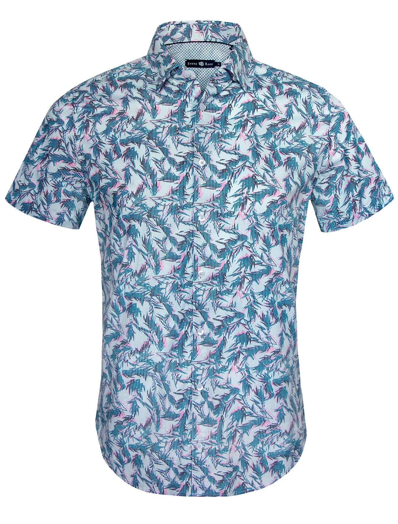 Blue Foliage Print Short Sleeve Shirt