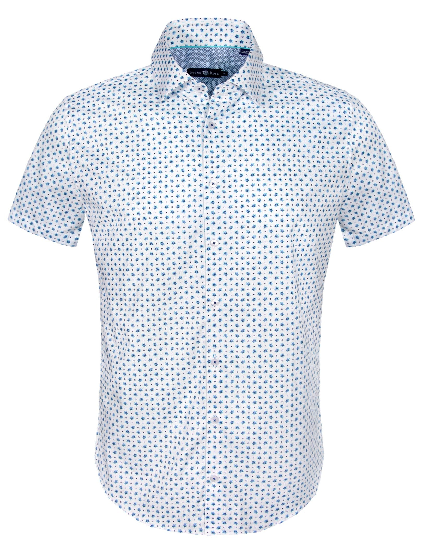 White Turtle Print Short Sleeve Shirt