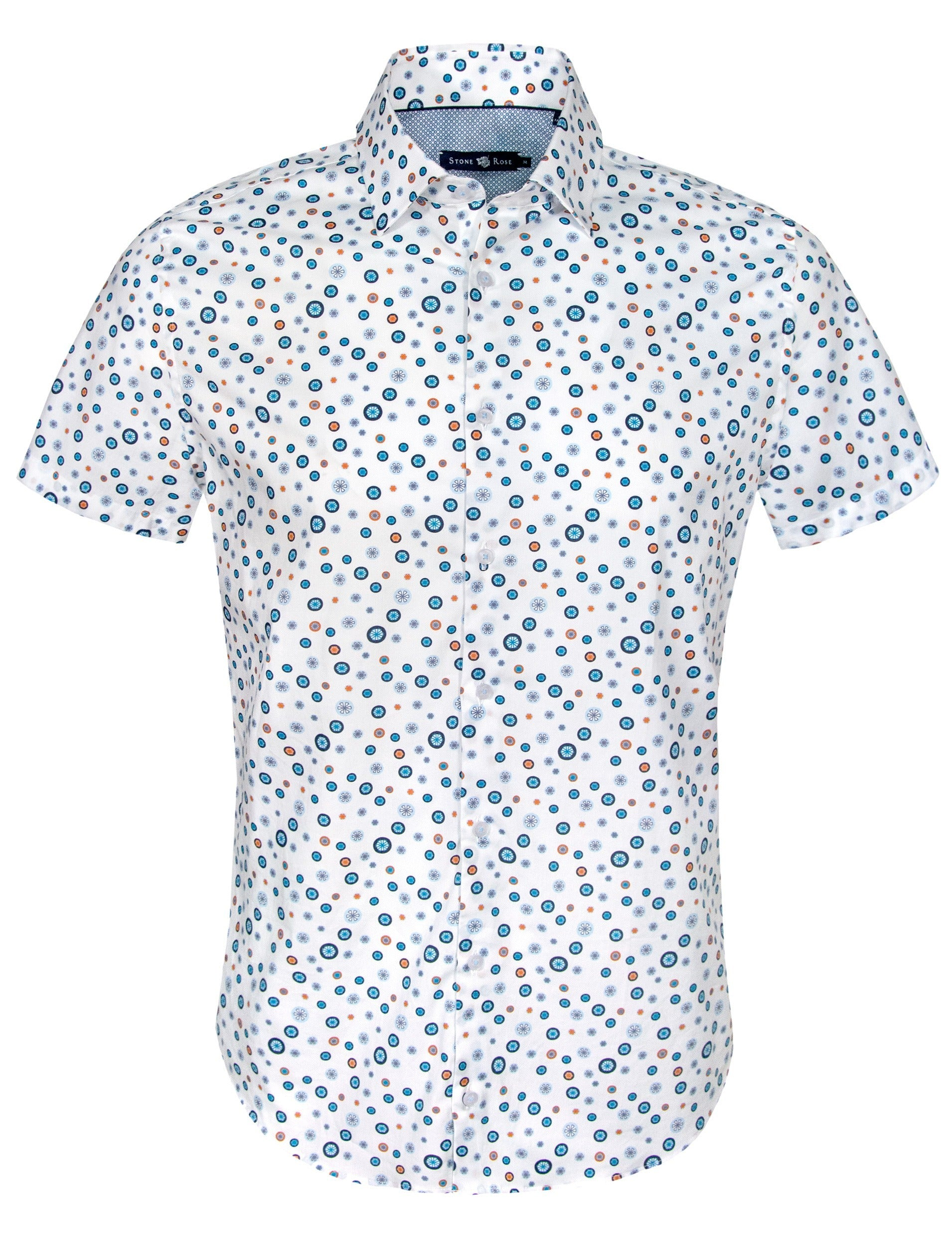 White Circular Print Short Sleeve Shirt