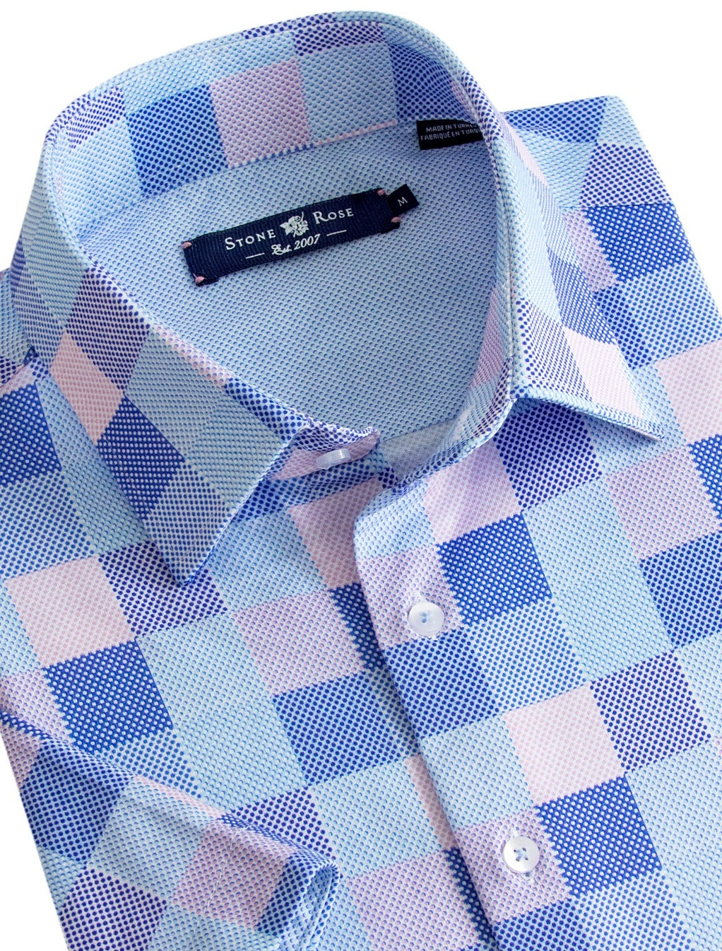 Pink and Blue Check Knit Short Sleeve Shirt