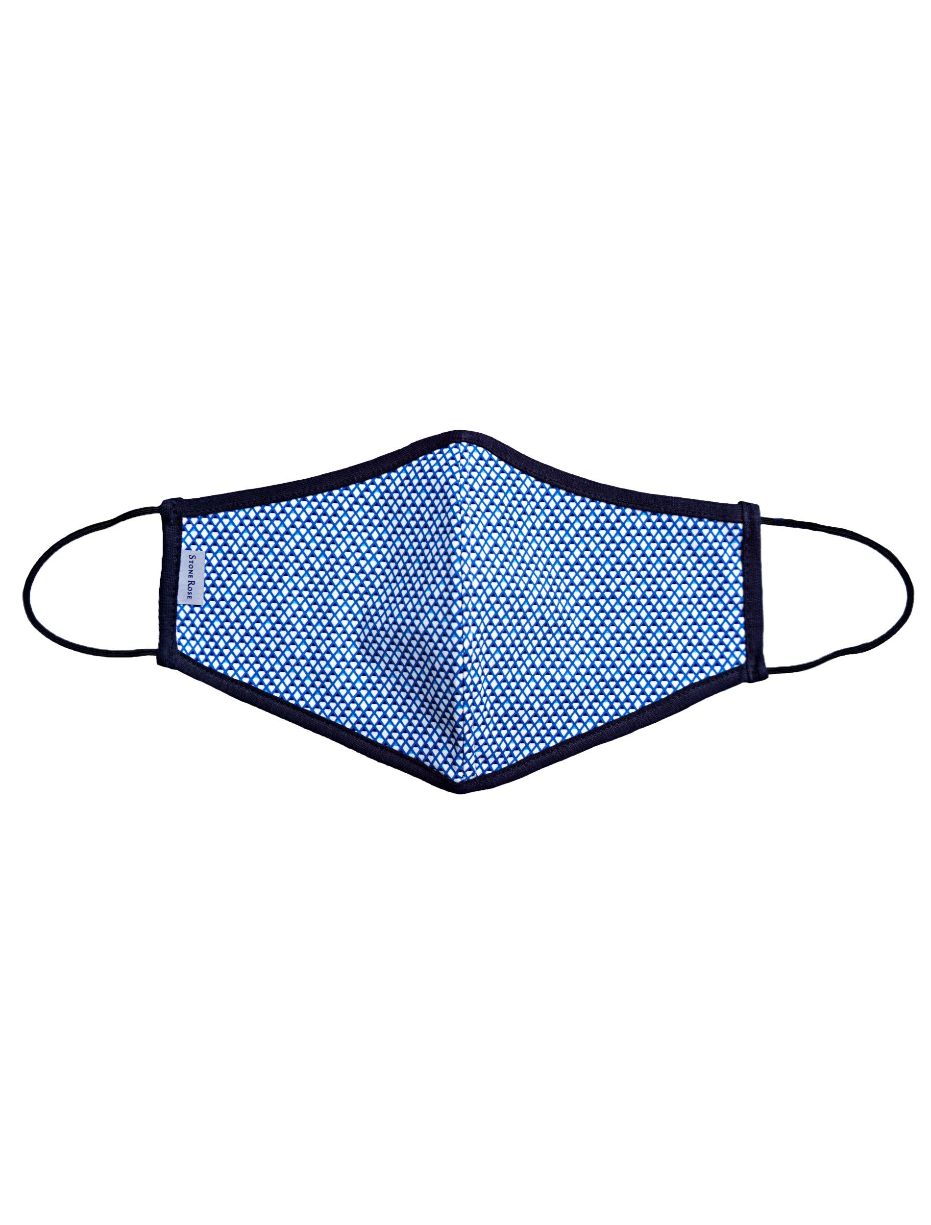 Blue and White Diamond Print - Reusable Lighweight Face Mask