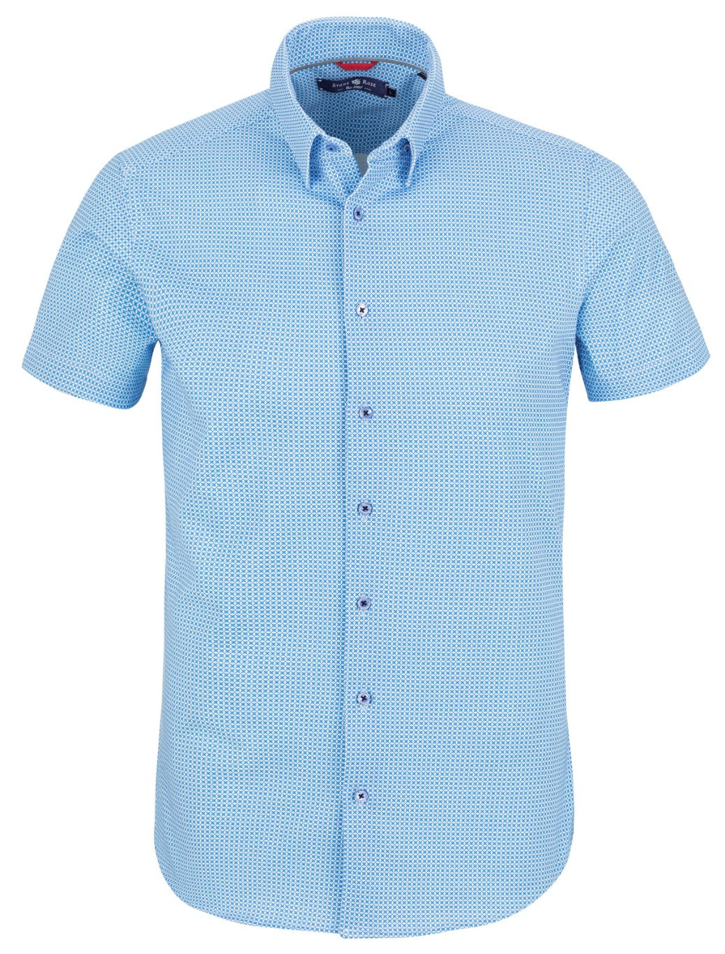 Light Blue Geometric Square Print Short Sleeve Shirt