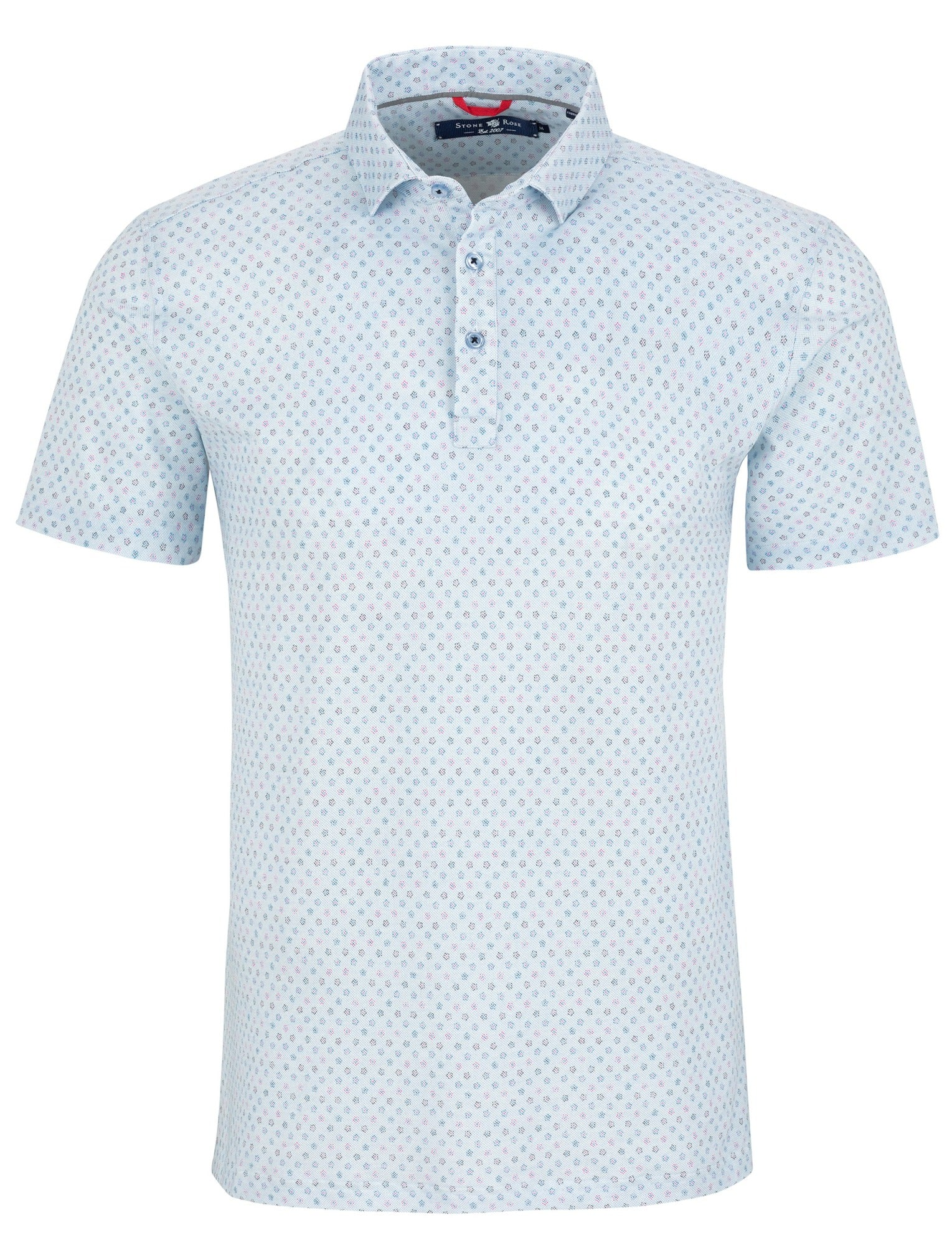 Light Blue Print T-Series Performance Pique Polo