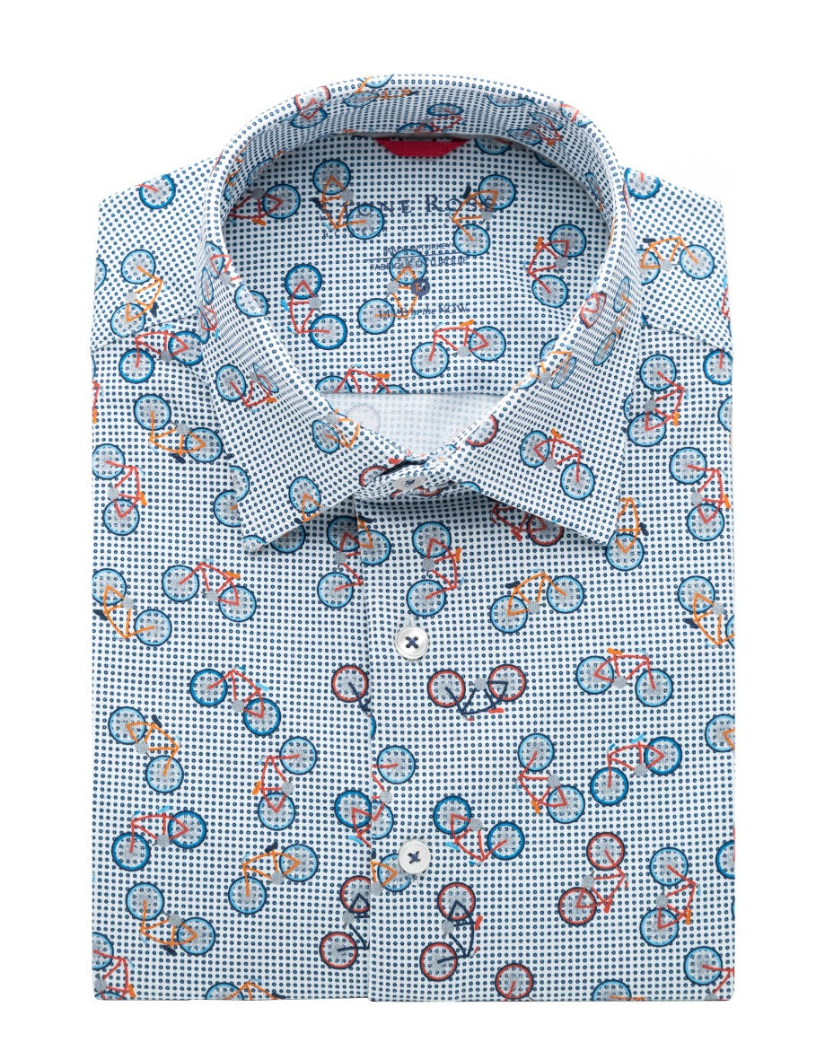 White Bicycle Print T-Series Short Sleeve Knit Shirt