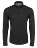 Black Texture Knit Performance Long Sleeve Shirt