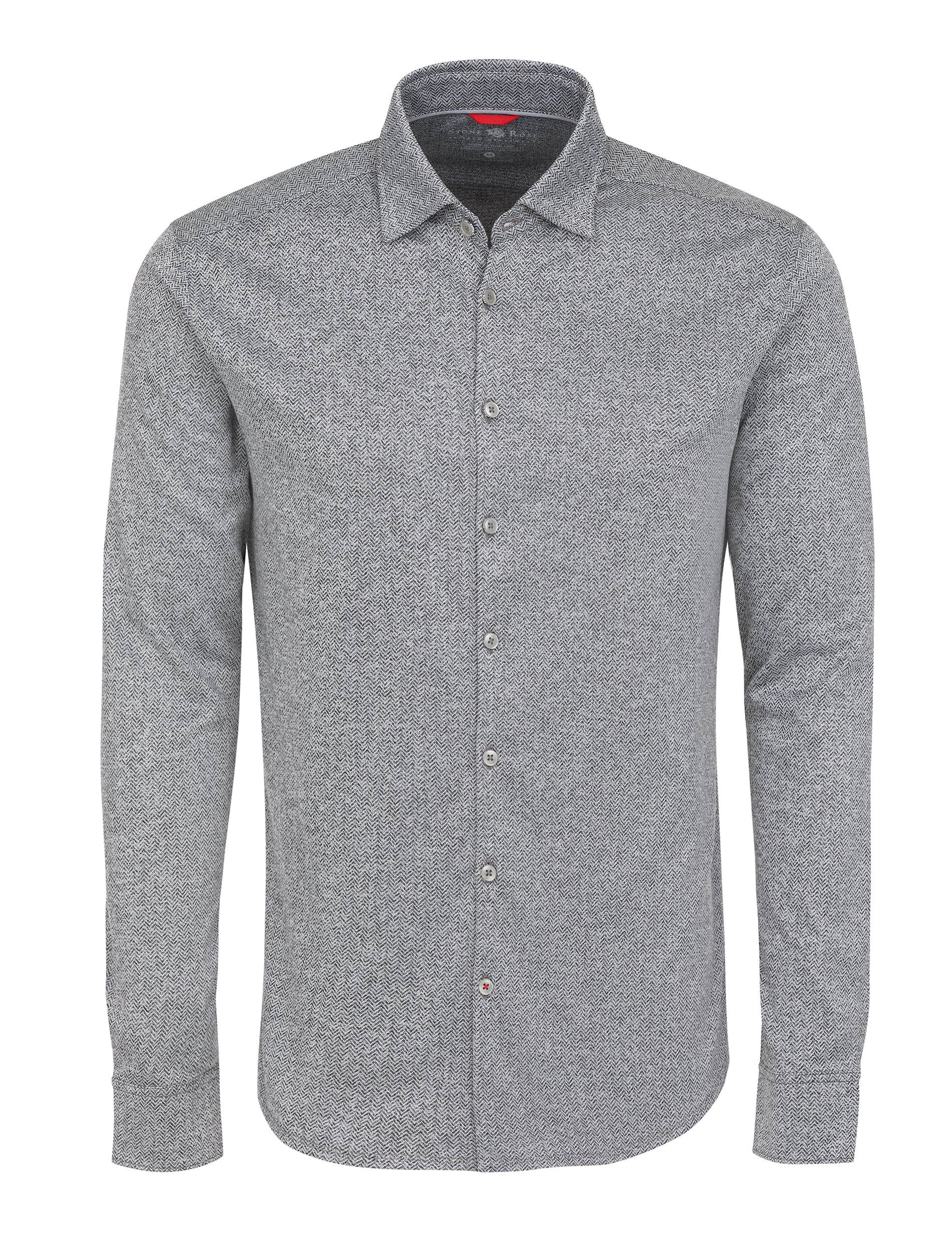 Black Herringbone Knit Performance Long Sleeve Shirt-Stone Rose