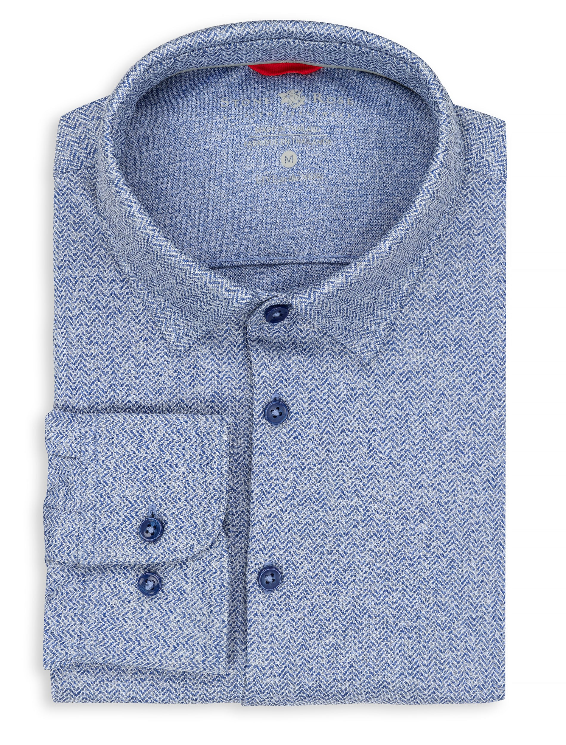 Blue Herringbone Knit Performance Long Sleeve Shirt-Stone Rose