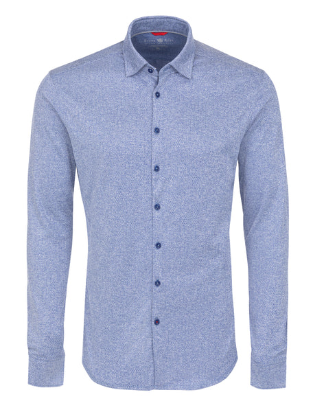 Blue Herringbone Knit Long Sleeve Shirt