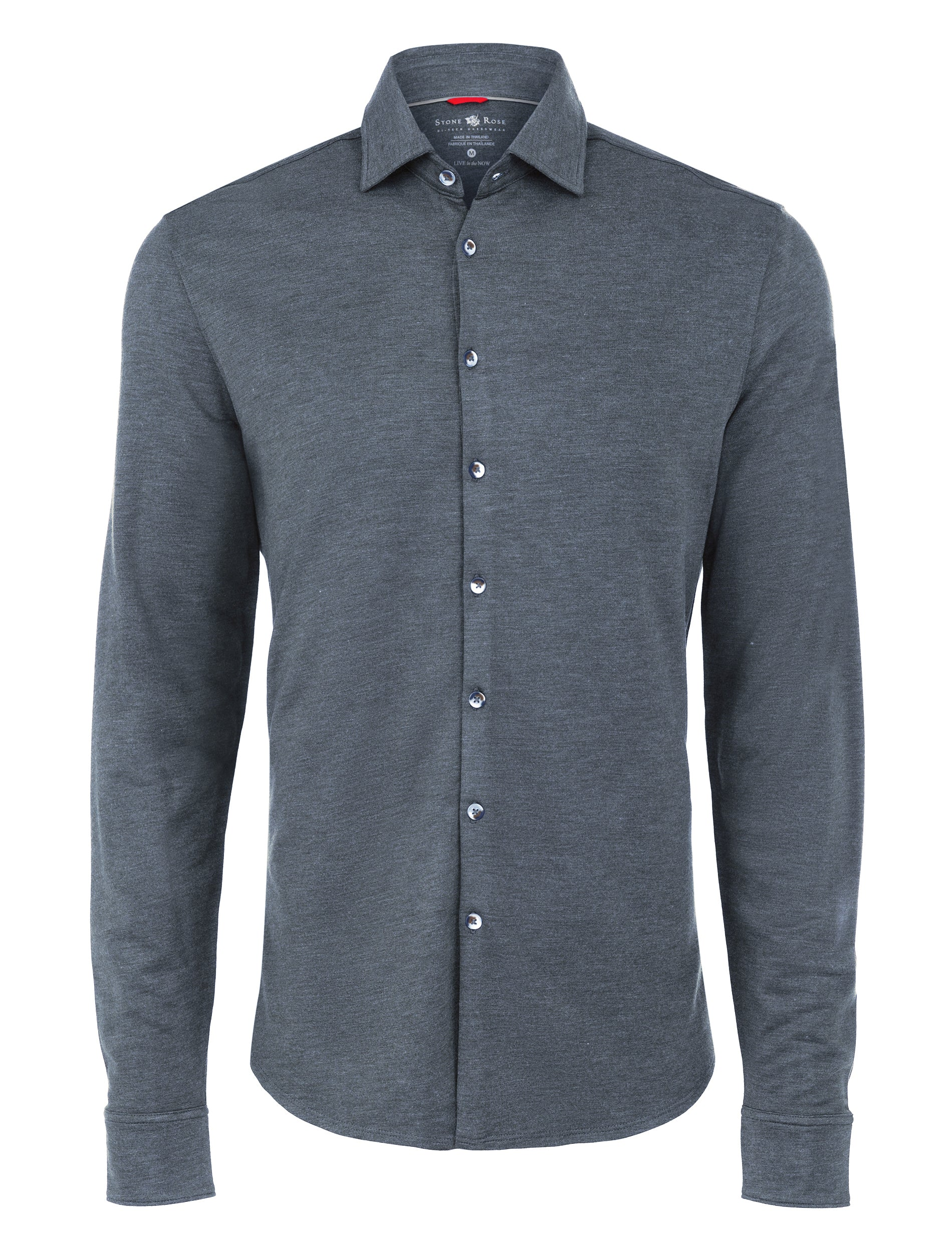 Navy Brushed Heather Knit Performance Long Sleeve Shirt-Stone Rose