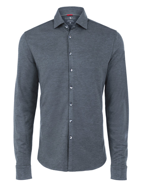 Navy Brushed Heather Knit Long Sleeve Shirt