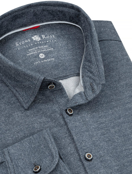 Navy Brushed Heather Knit Performance Long Sleeve Shirt