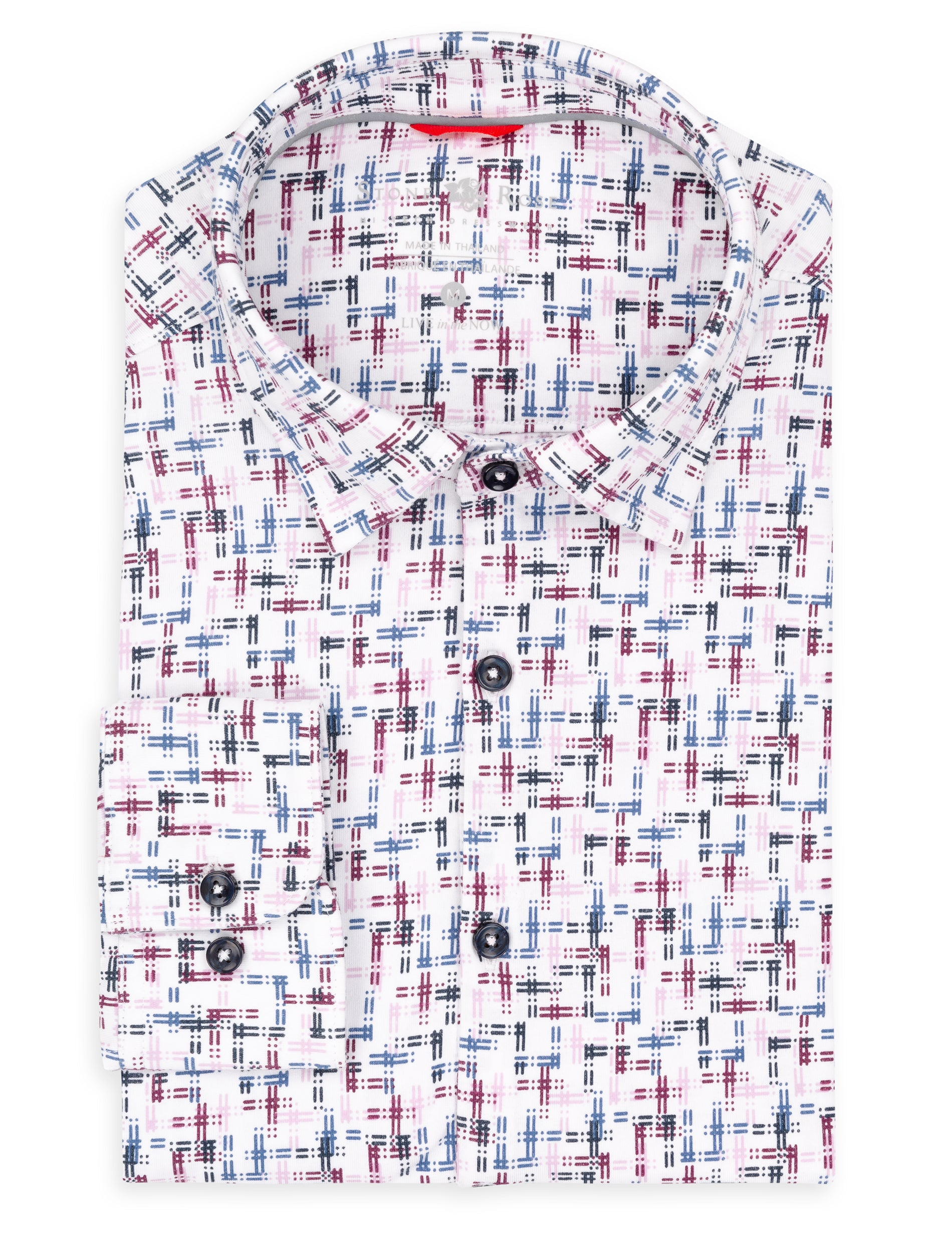 White Abtract Check Knit Performance Long Sleeve Shirt-Stone Rose