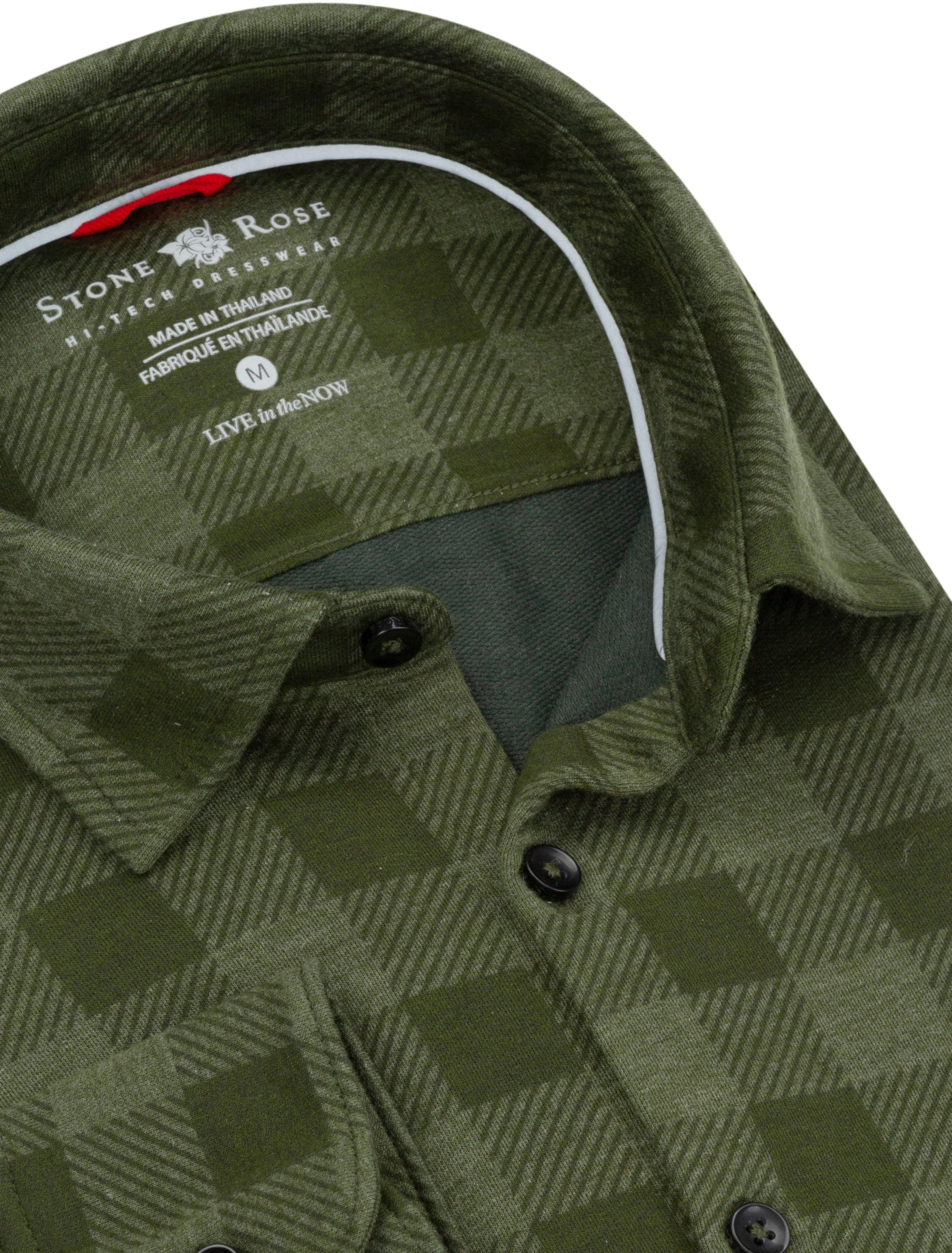 Olive Check Knit Performance Long Sleeve Shirt-Stone Rose