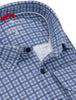 Close-up photo of a blue checked performance dress shirt from Stone Rose. Photo shows the black buttons and inside collar.
