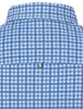 Image showing the back collar and yoke of a blue checked men's designer dress shirt from Stone Rose.