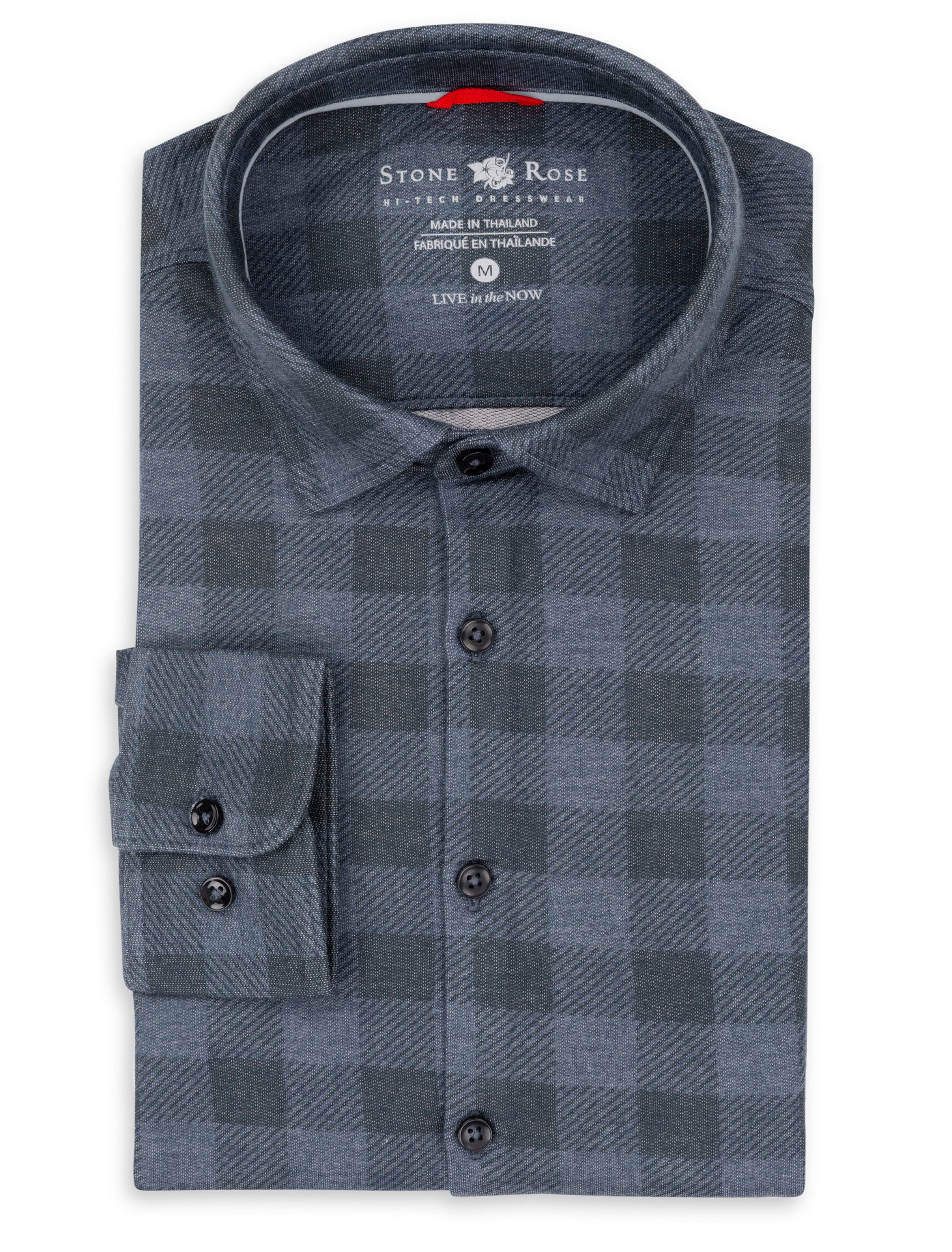 Navy Check Knit Performance Long Sleeve Shirt-Stone Rose