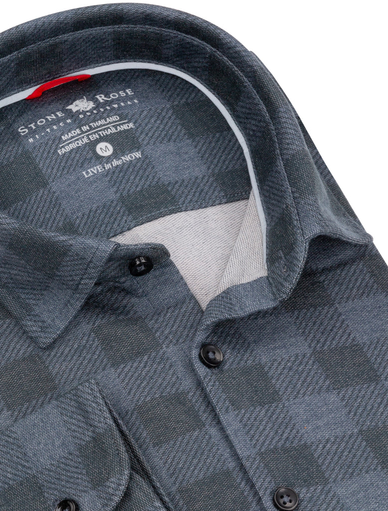 Navy Check Knit Performance Long Sleeve Shirt