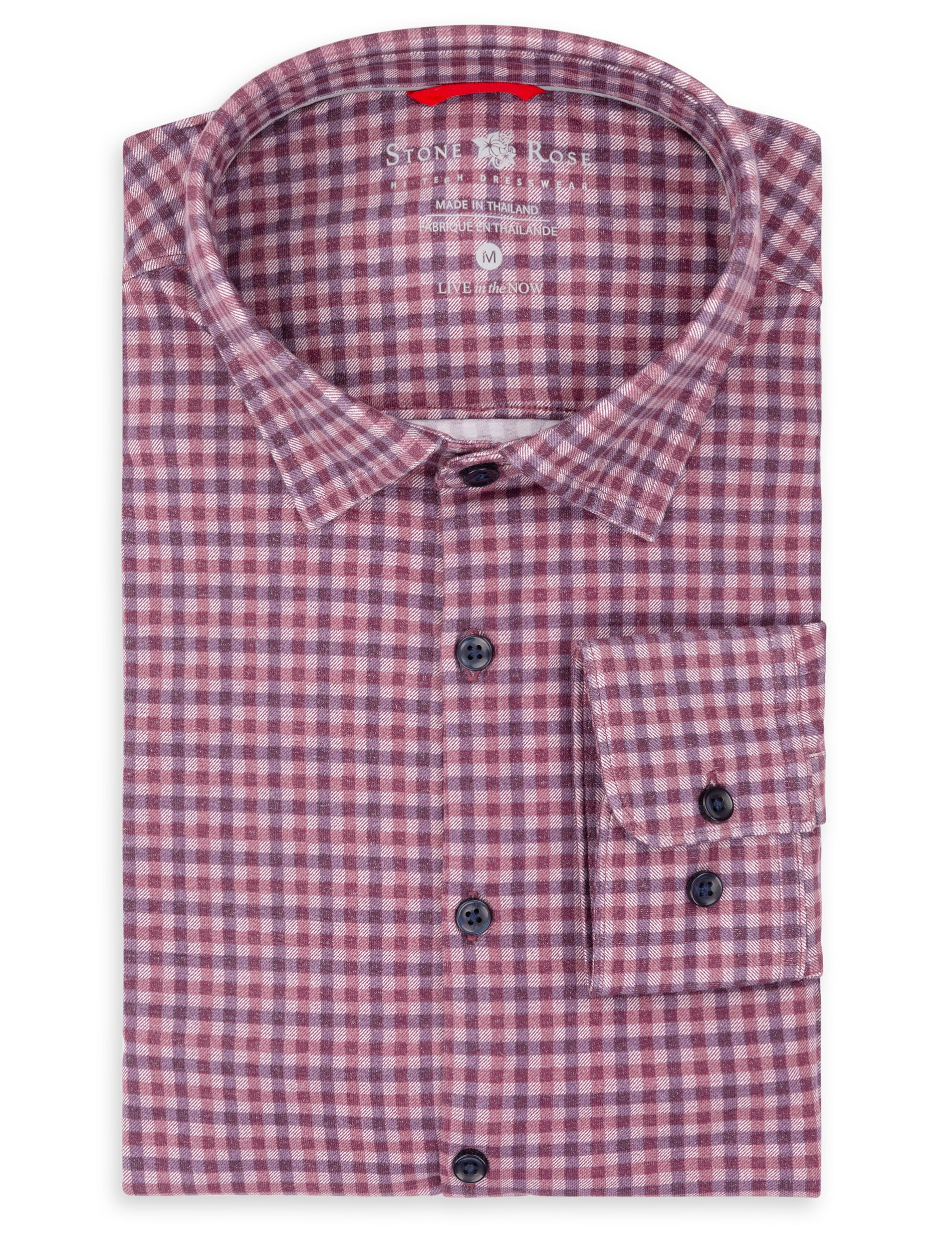 Berry Check Knit Performance Long Sleeve Shirt-Stone Rose