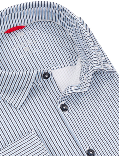 Close-up view of the collar and buttons on an athletic-fit dress shirt from Stone Rose.