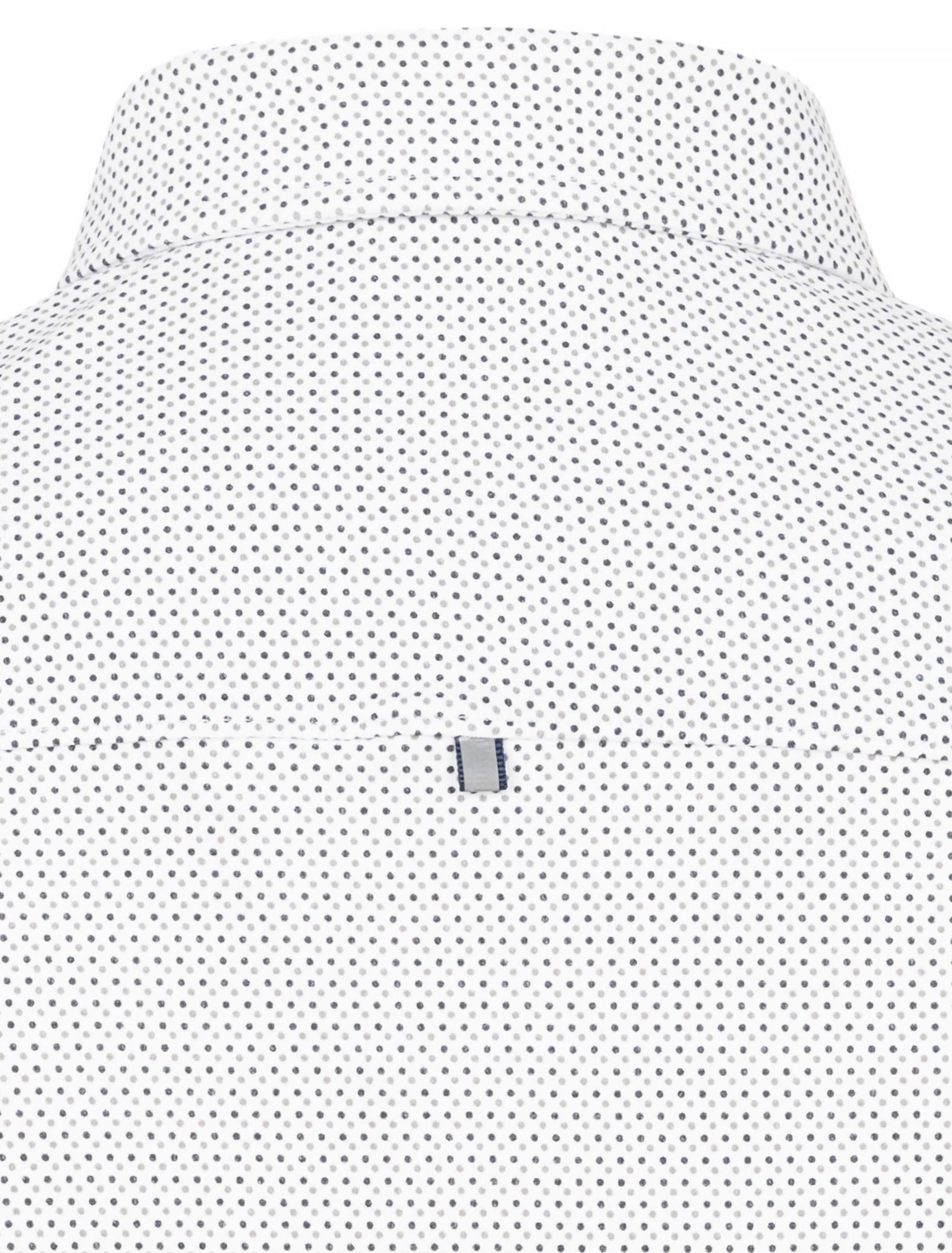 White Polka Dot Knit Performance Long Sleeve Shirt-Stone Rose