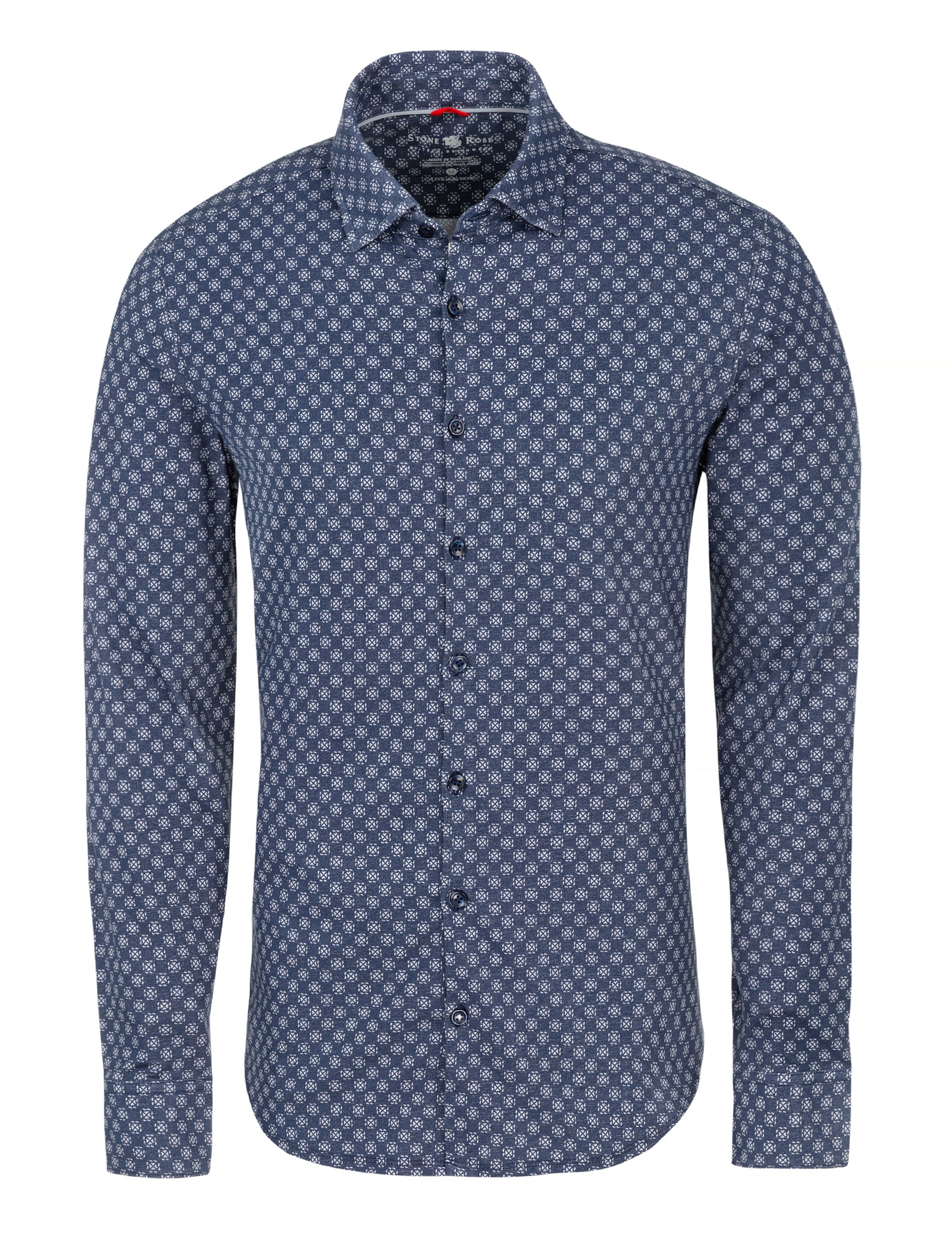 Navy Geometric Knit Performance Long Sleeve Shirt-Stone Rose