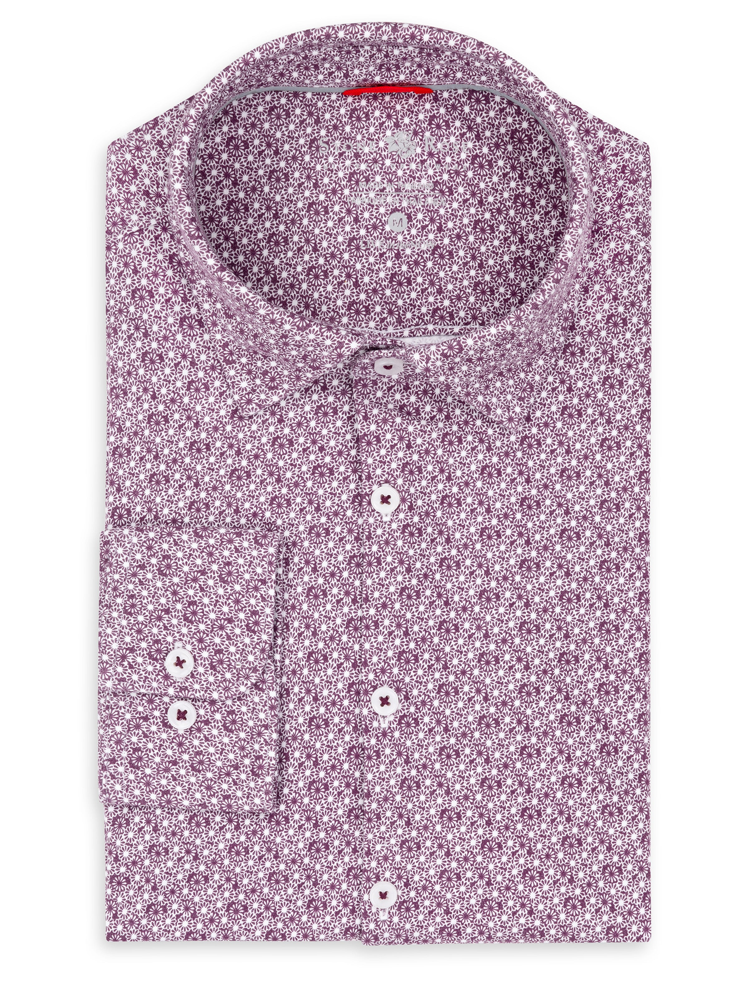 Berry Floral Knit Performance Long Sleeve Shirt-Stone Rose