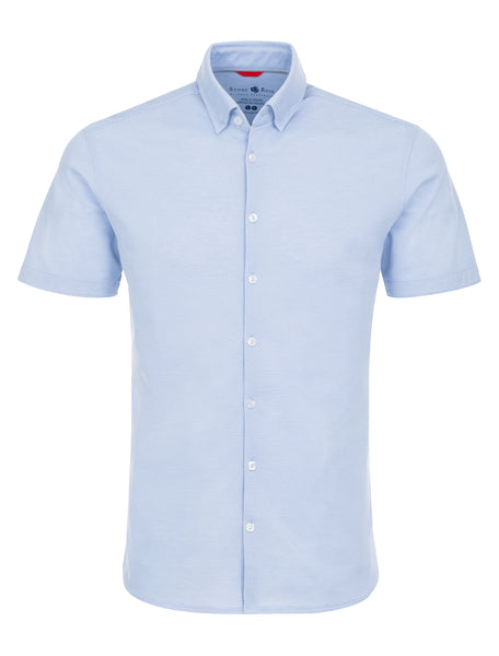 Blue Textured Knit Performance Short Sleeve Shirt