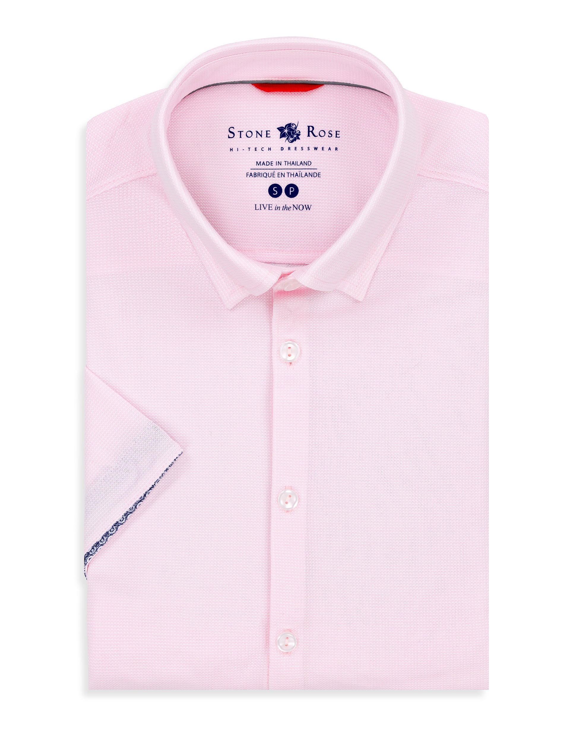 Pink Textured Knit Performance Short Sleeve Shirt-Stone Rose