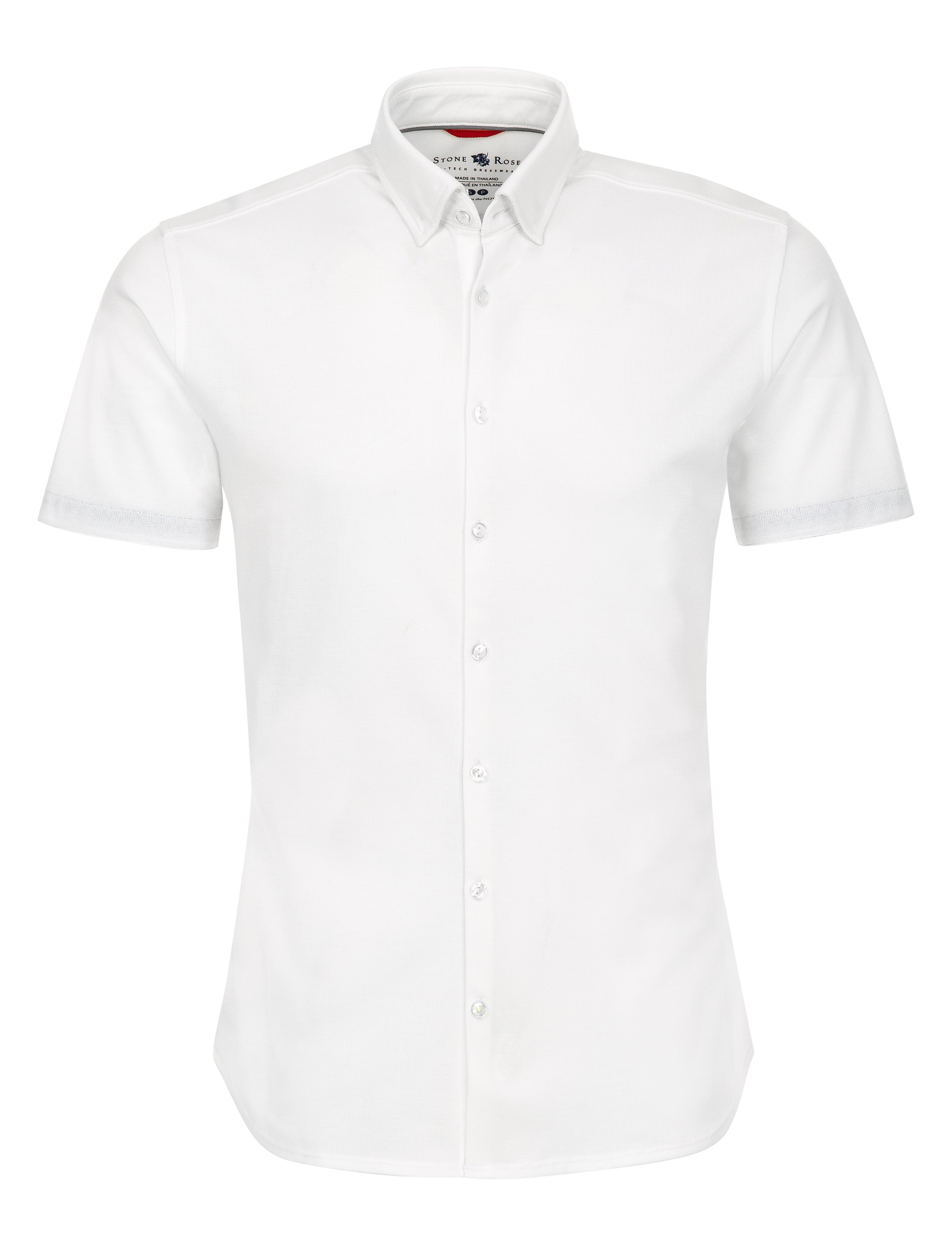White Textured Knit Performance Short Sleeve Shirt-Stone Rose